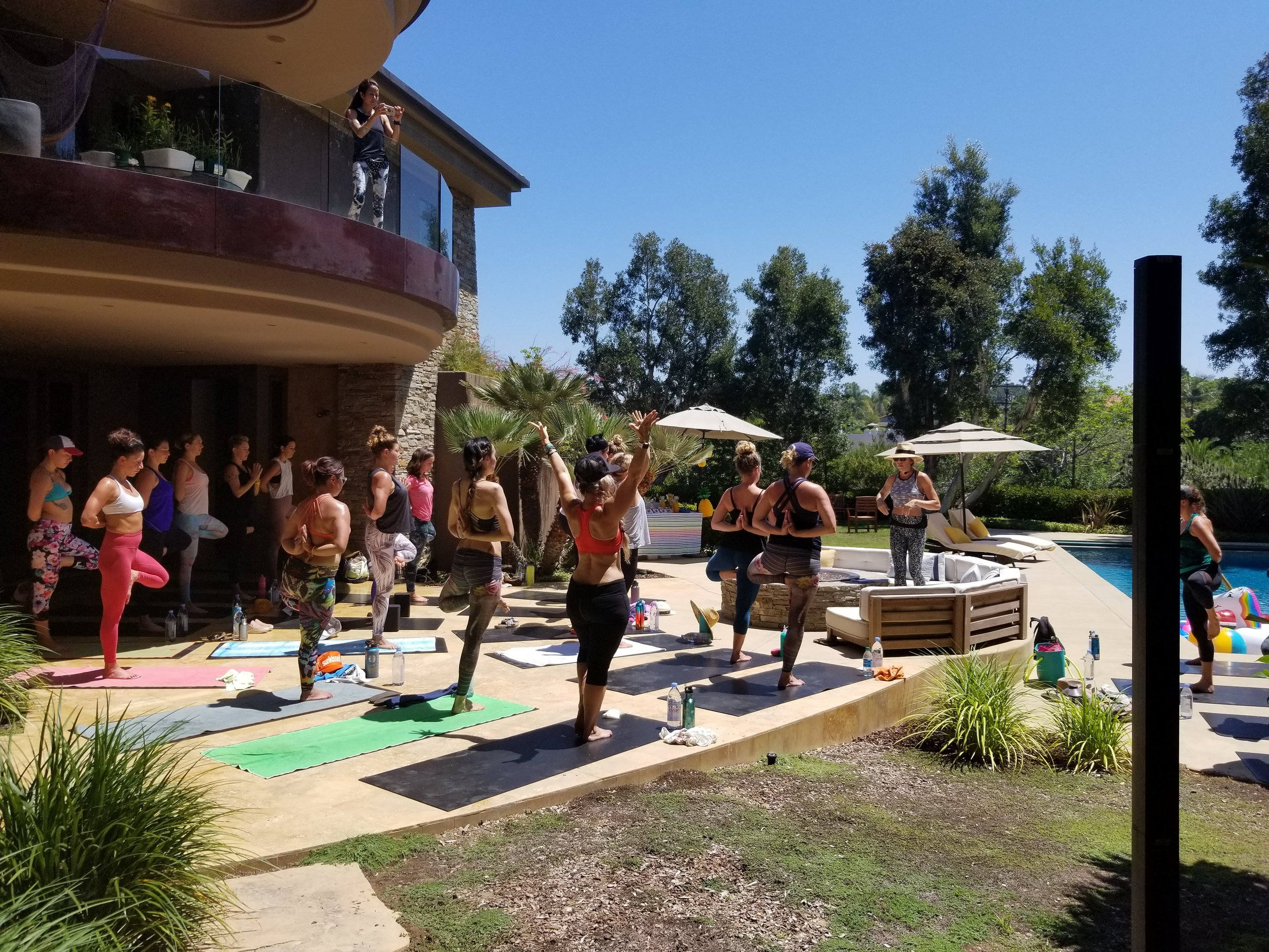 Goldie Graham teaches yoga at the Starlight La Jolla during her Retreat Without The Travel event.