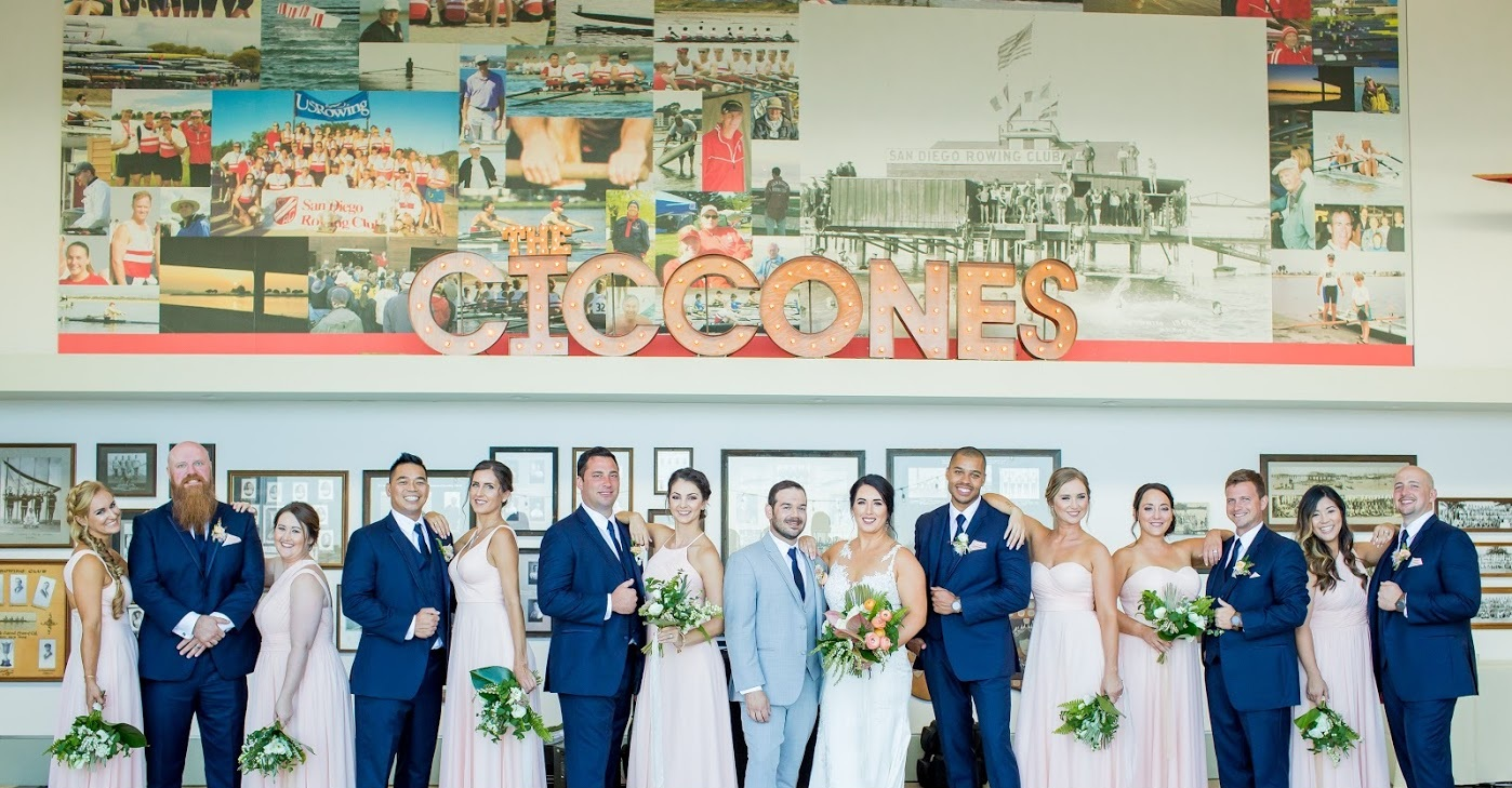 Kayla and Gino with their wedding party at the San Diego Rowing Club.