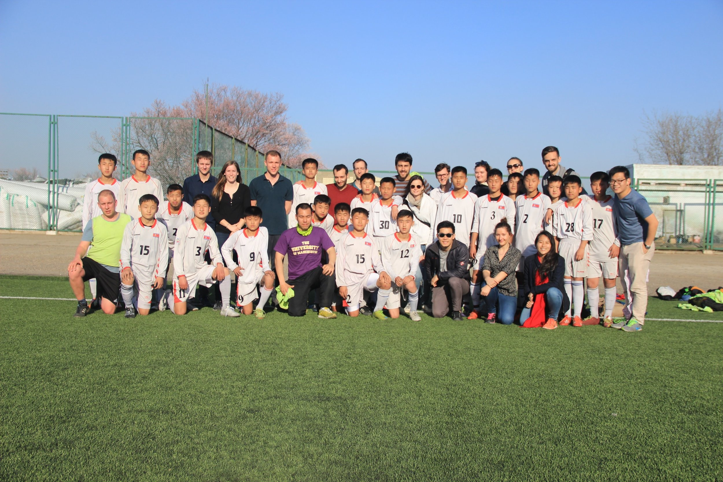 Sports Delegates play a friendly match with the DPRK youth football team.     Pyongyang, DPRK April 2016.