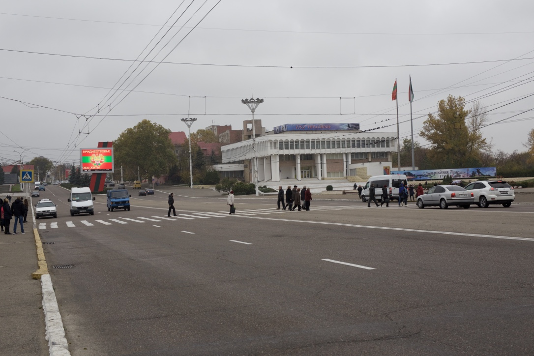 Street view from the Surovov Square in the centre of Tiraspol