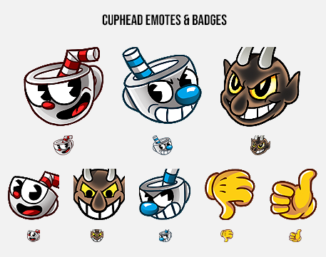Cuphead Emotes & Badges   Twitch emotes & steam badges for StudioMDHR 2017