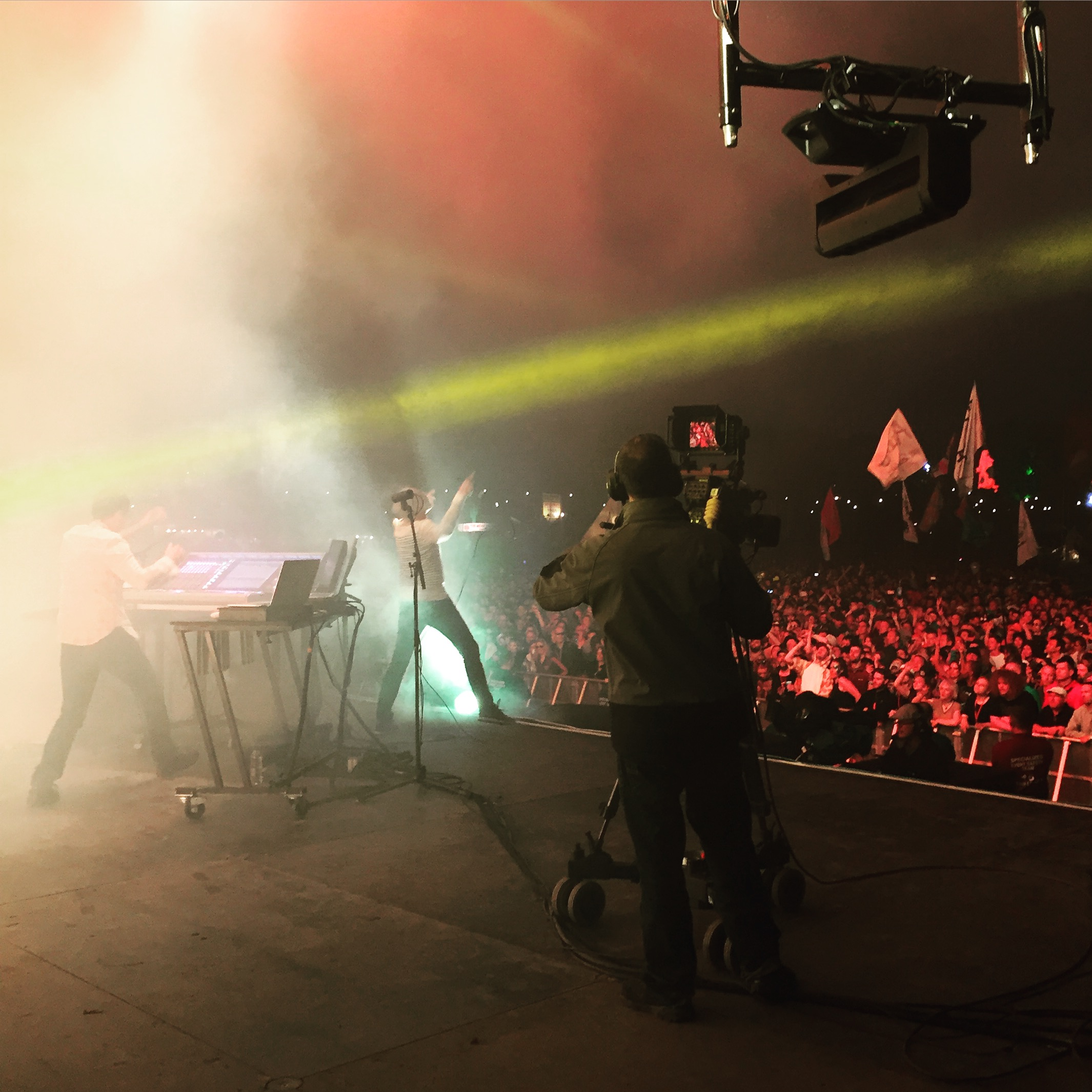 Raving onstage with Underworld.
