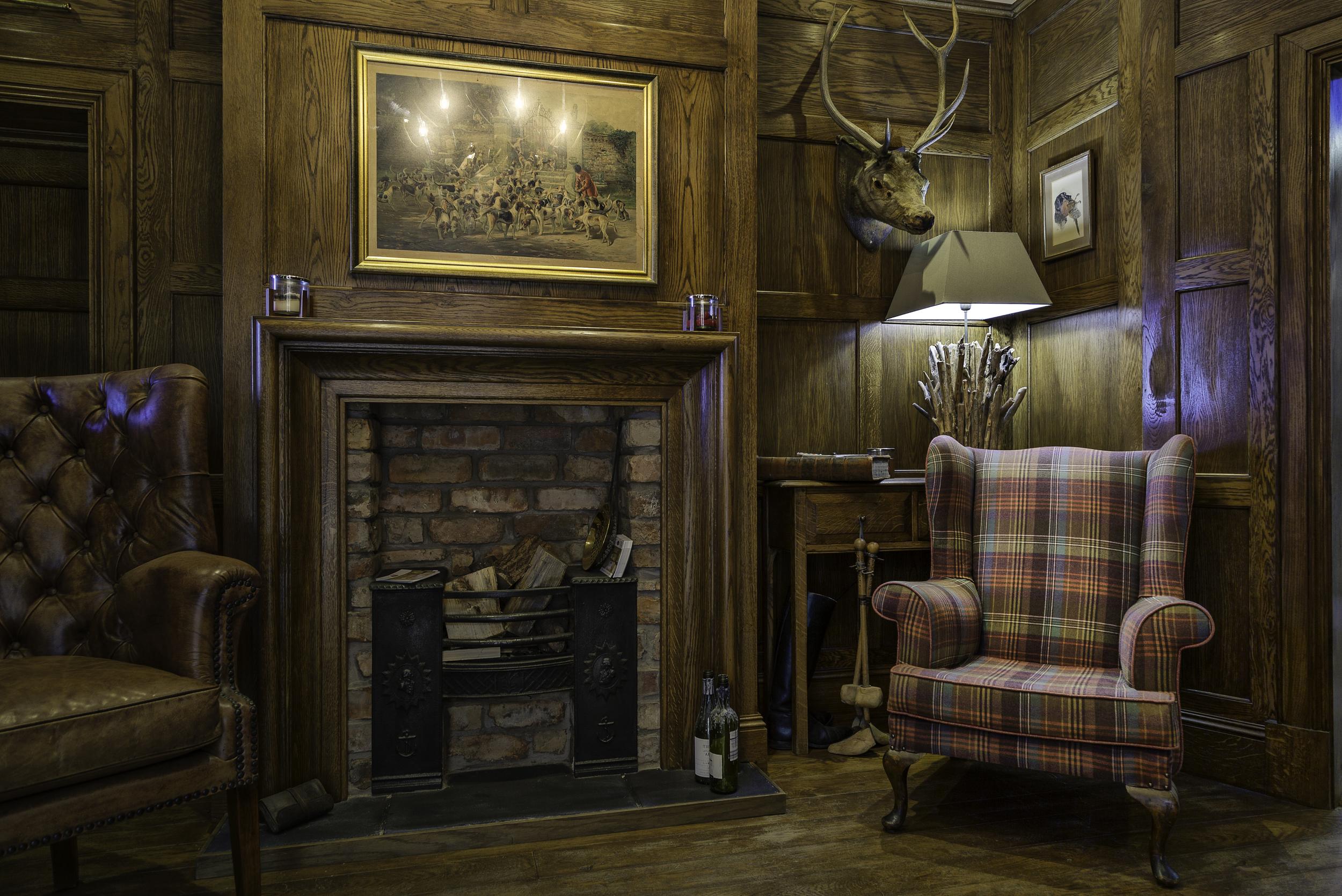 Custom wood panelled study