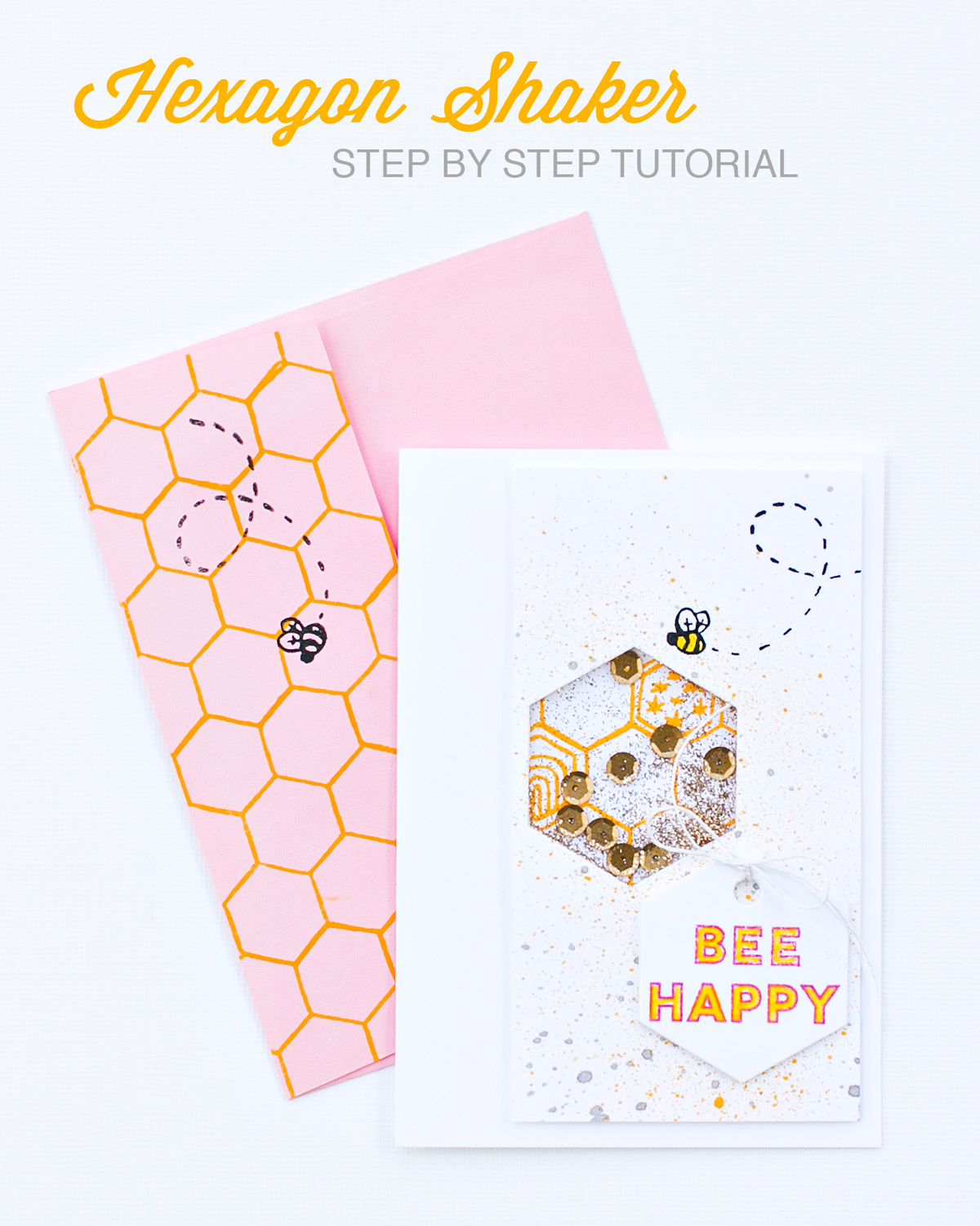 Bee Happy Shaker card with matching envelope  | step by step tutorial by @pixnglue