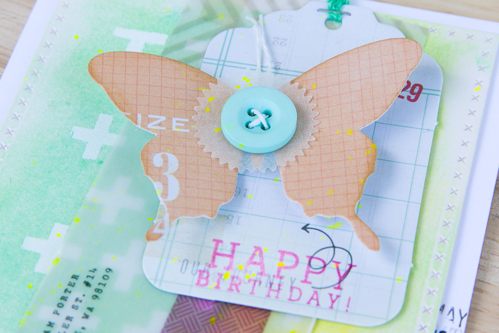 Happy Scrappy Friends - Butterfly Birthday Card, detail
