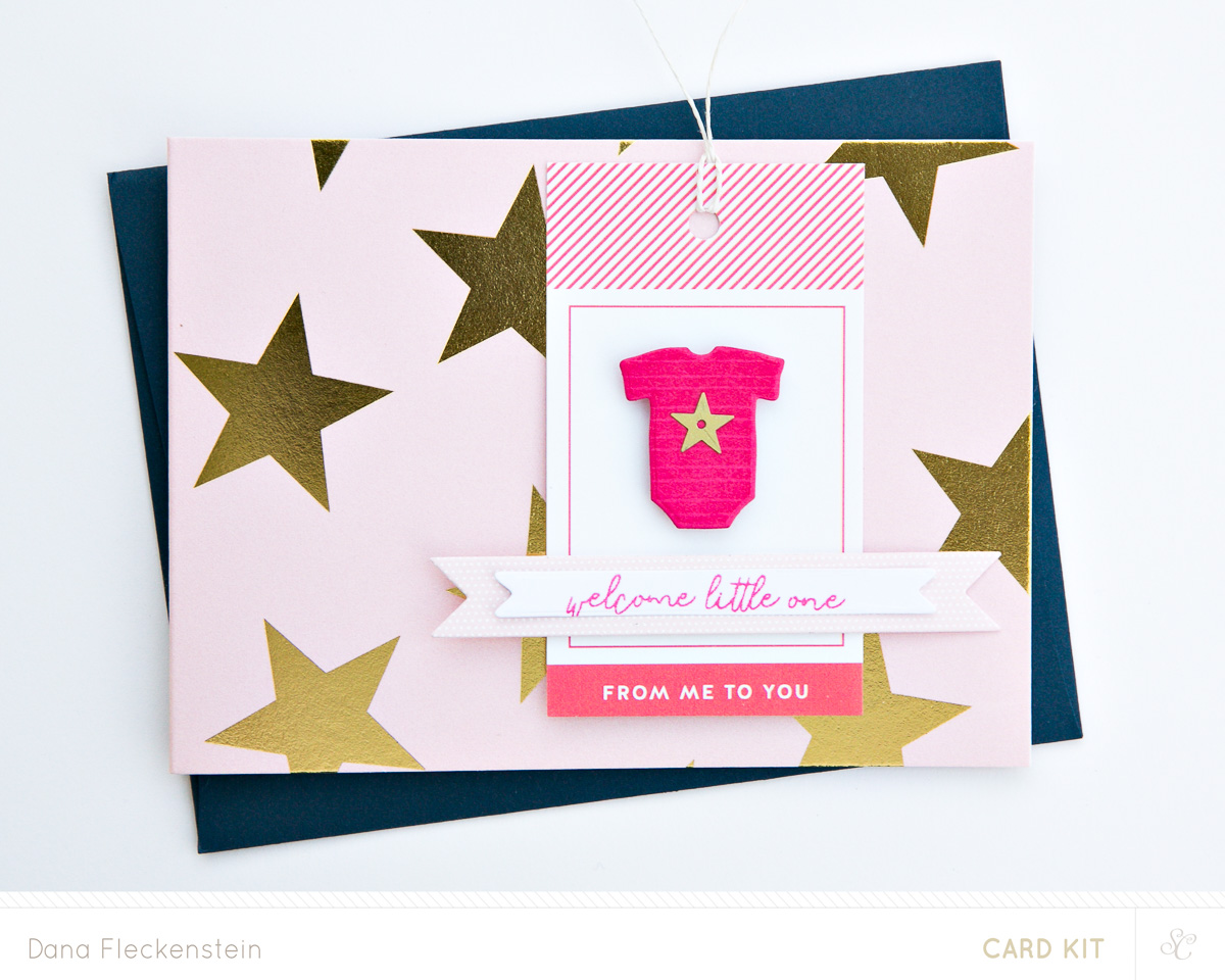 Welcome Little One - altered stationery card by @pixnglue