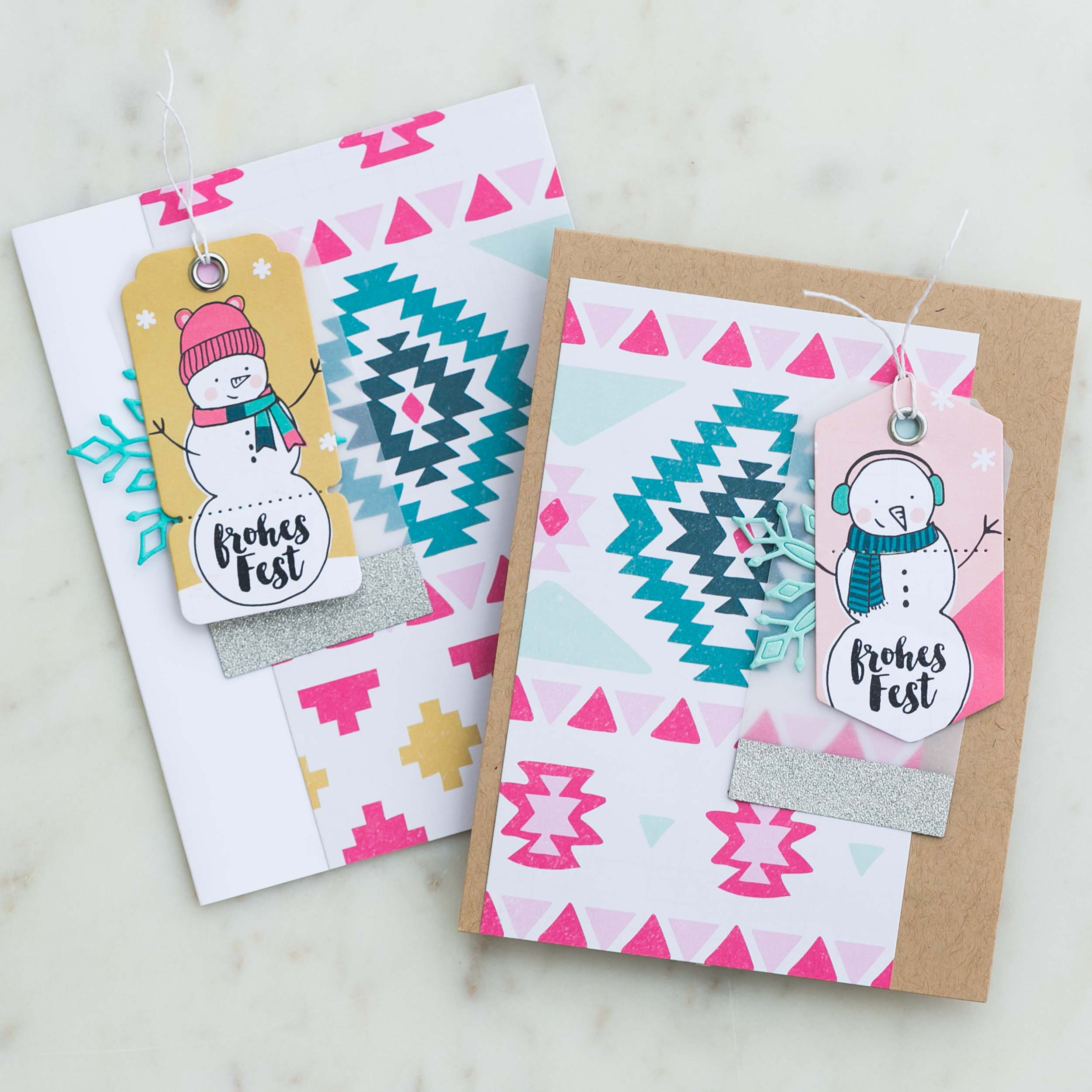 Christmas cards with Crate Paper Snow & Cocoa collection by @pixnglue
