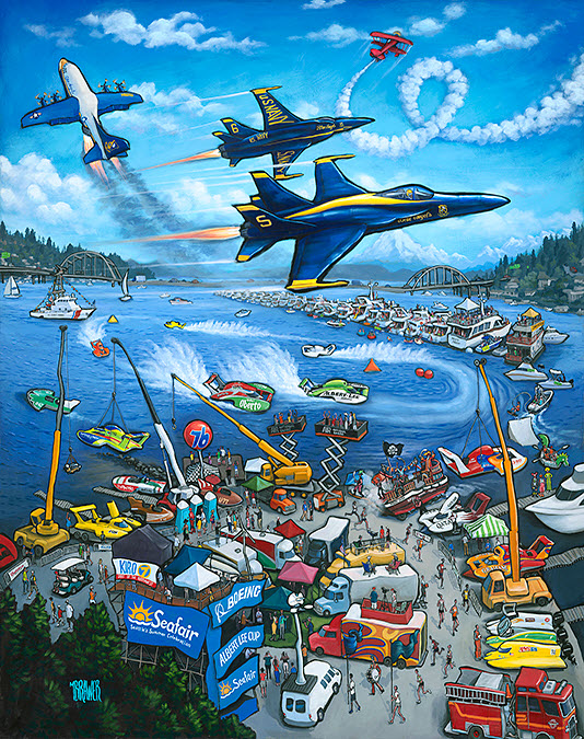 Seafair 65th Anniversary — Seattle#48x38  $1,000  Signed Limited Edition#36x28 $500#24x19 $250