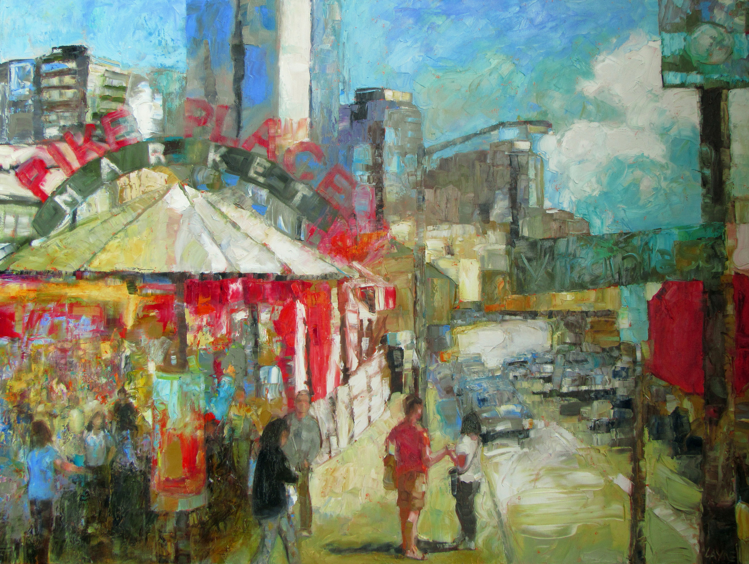 Lively Market Day#Oil on canvas#30x40#SOLD