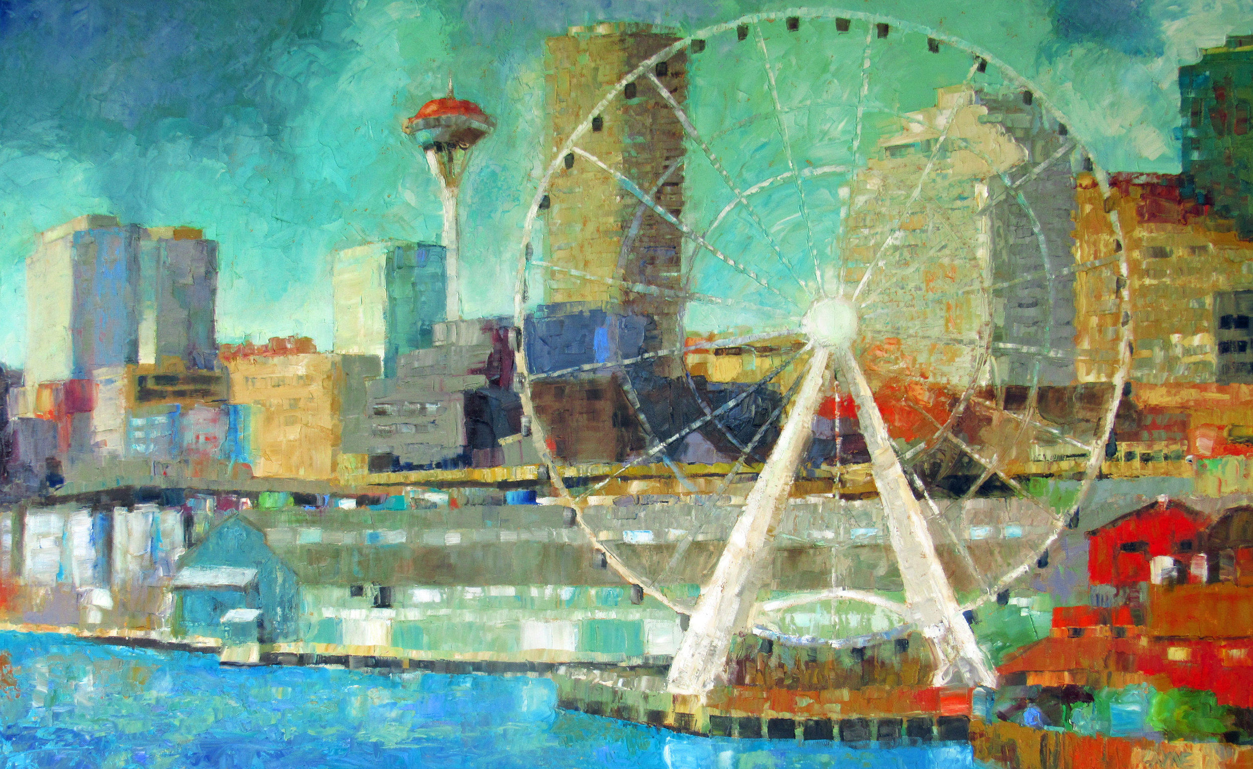 Circling Seattle#Oil on canvas#30x48#SOLD