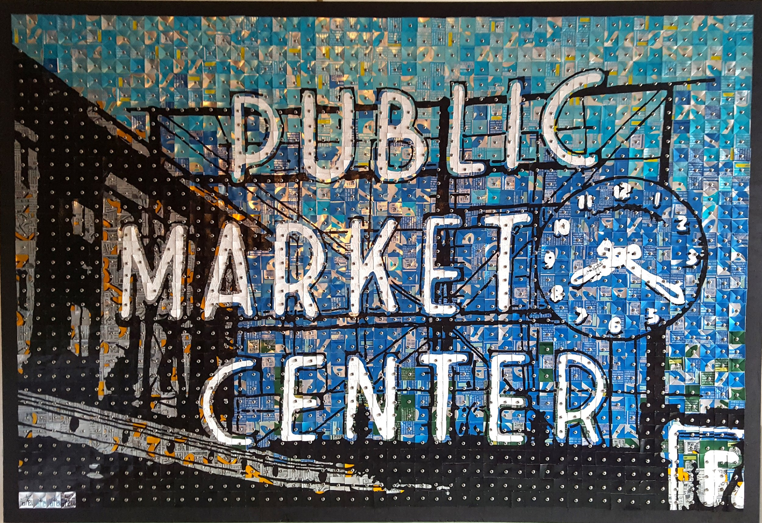 Public Market Center#Aluminum cans on wood panel#33 x 48 inches#$3,500