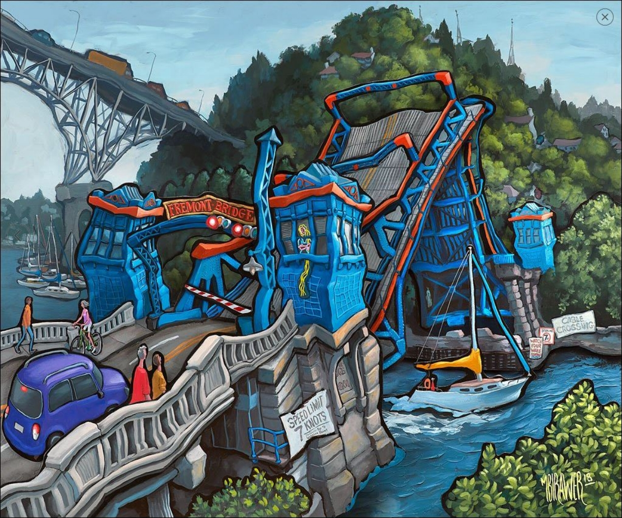 Fremont Bridge - Seattle#Acrylic on 3D wood#36 x 44 x 4 inches#$5,800