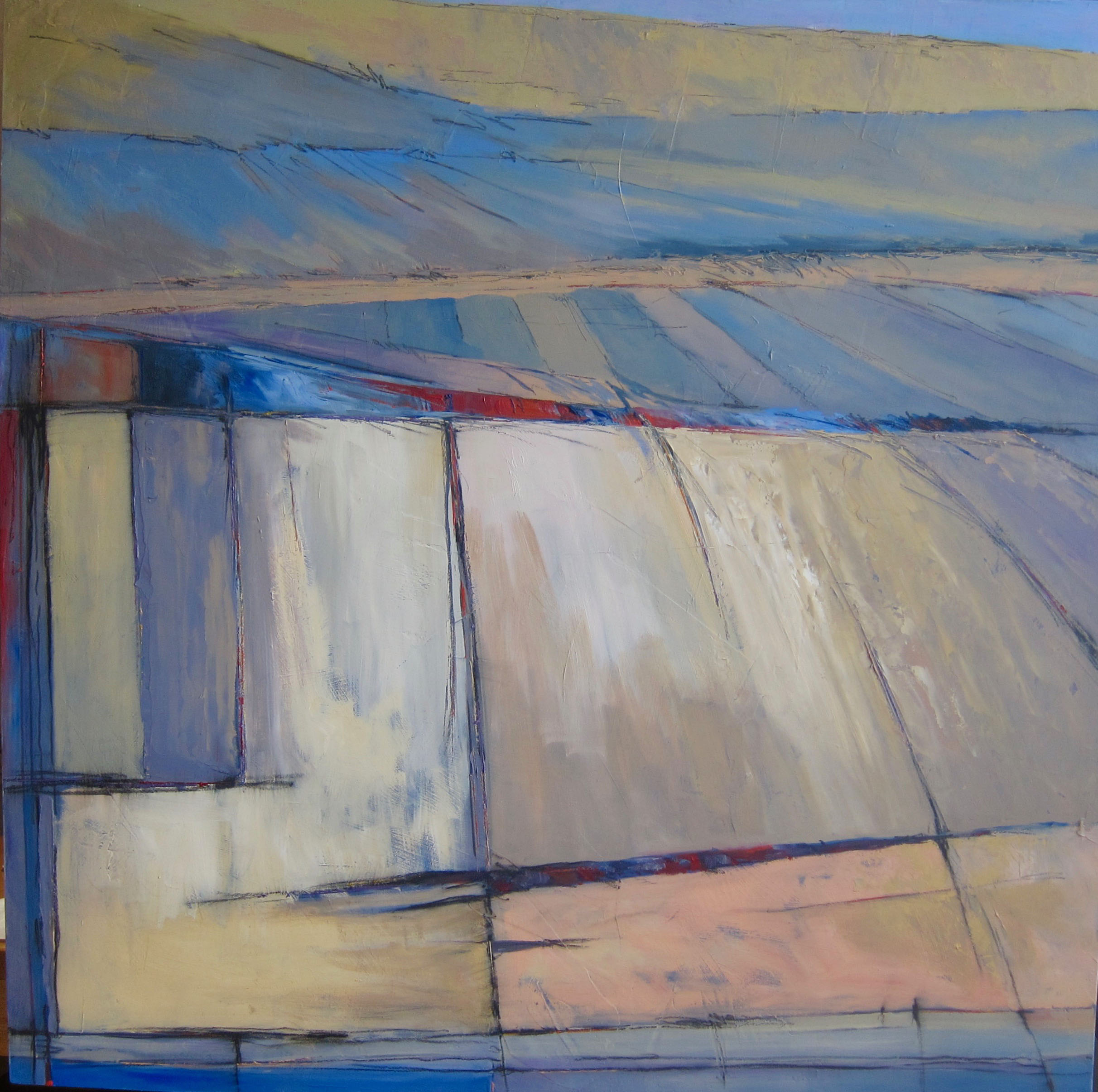 Patchwork Terrain#Oil on panel#36 x 36 inches#SOLD