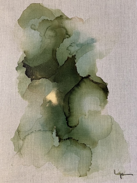 In the River#Alcohol ink on linen#24 x 18 inches #SOLD