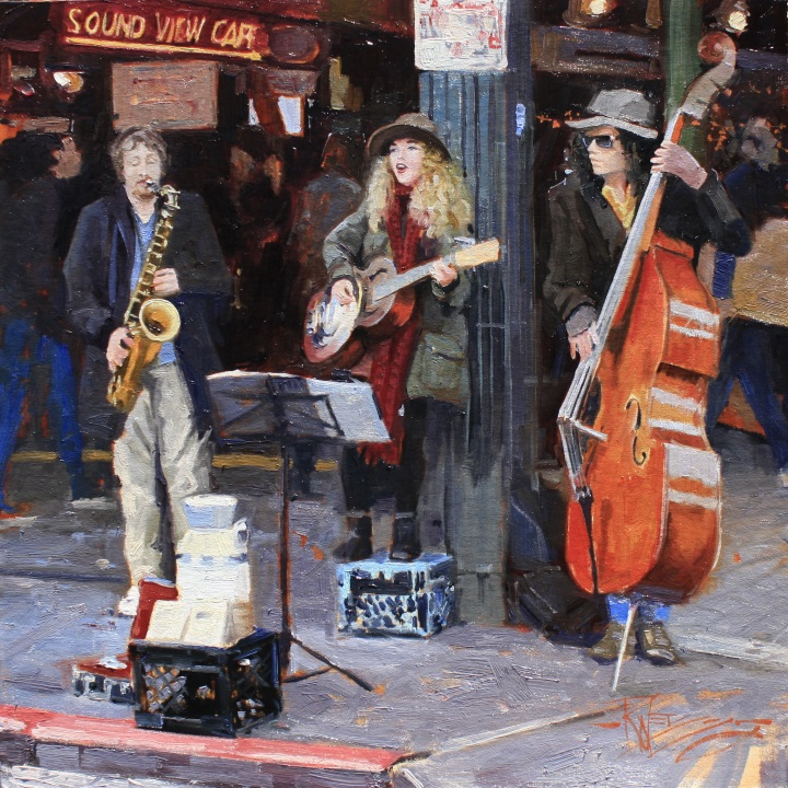 Seattle Buskers#Oil on linen#20 x 20 inches#SOLD
