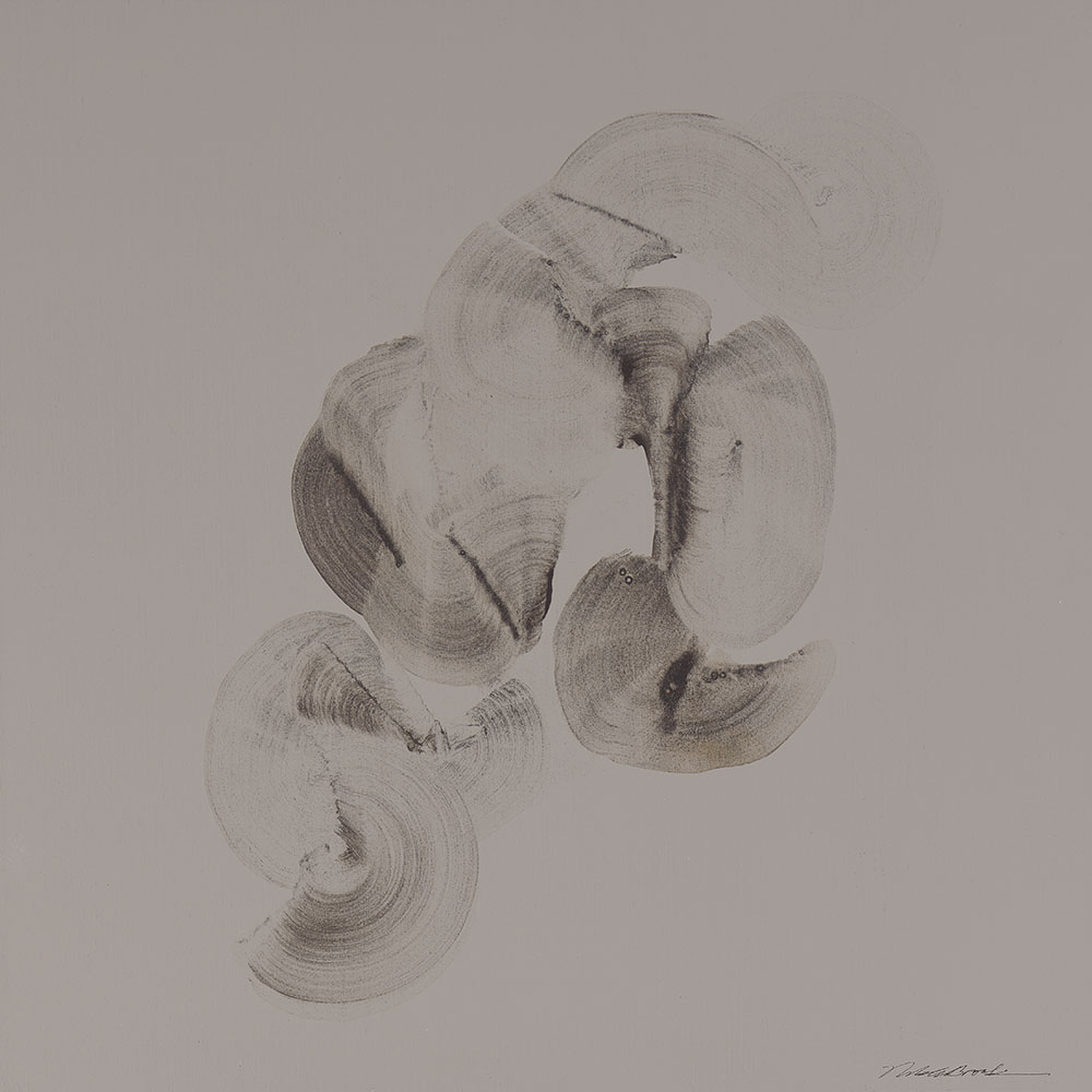 Abstract Shells 1 - Neutral Ground#Acrylic on panel#14 x 14 inches#SOLD