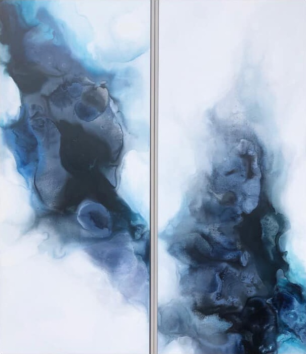 Color Forms 1 and 2#Acrylic on panel#20 x 48 inches#SOLD
