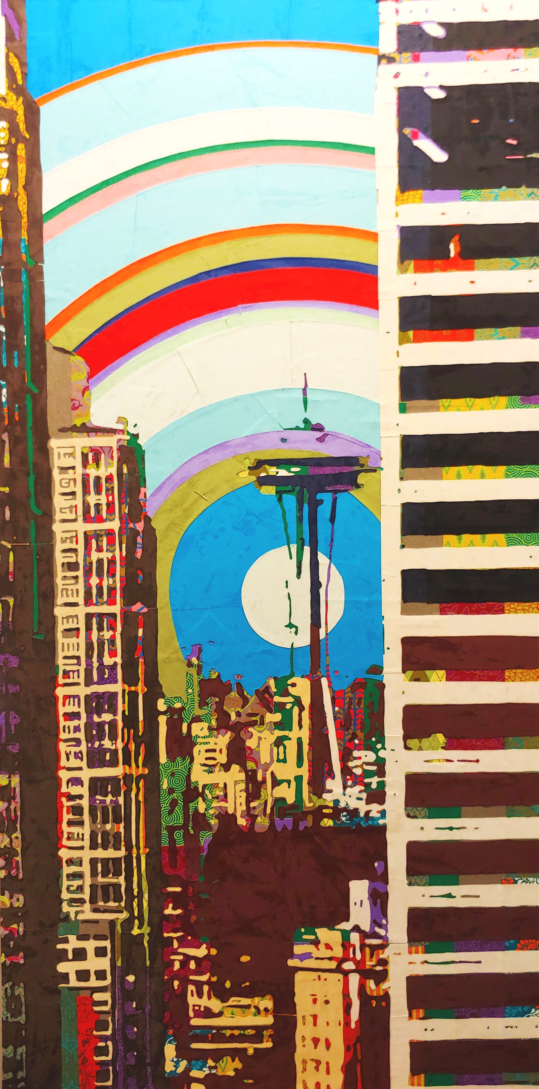 Space Needle from Smith Tower#Paper on panel # 48  x 24 inches #SOLD