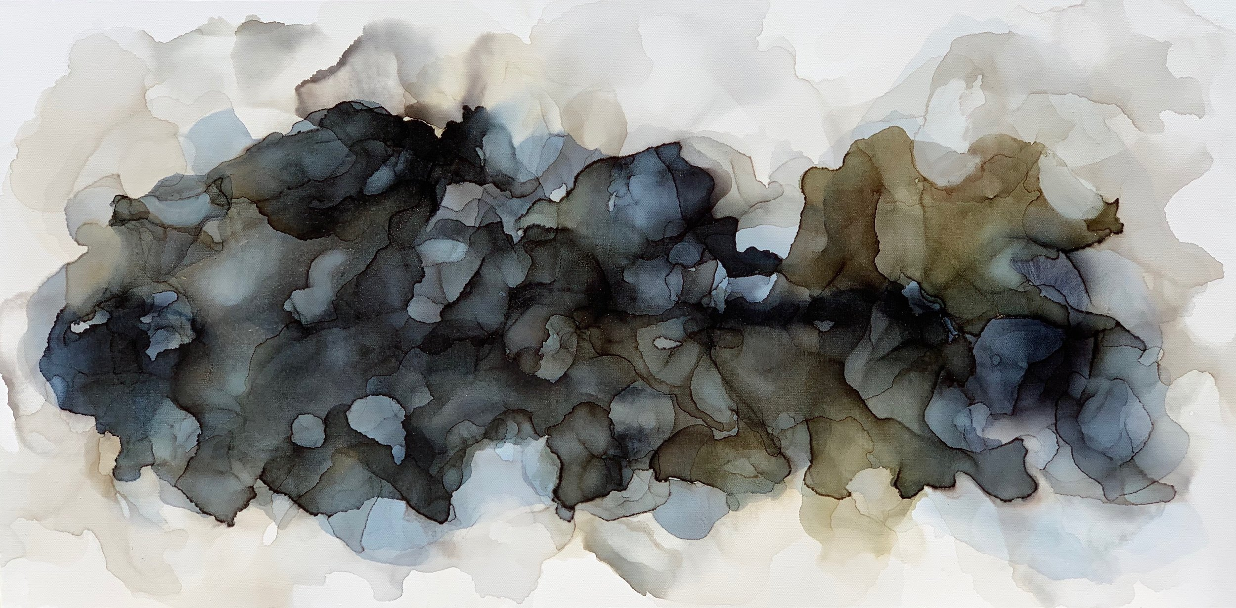 Music of Water#Alcohol Ink on Canvas#24 x 48 inches#$1,950