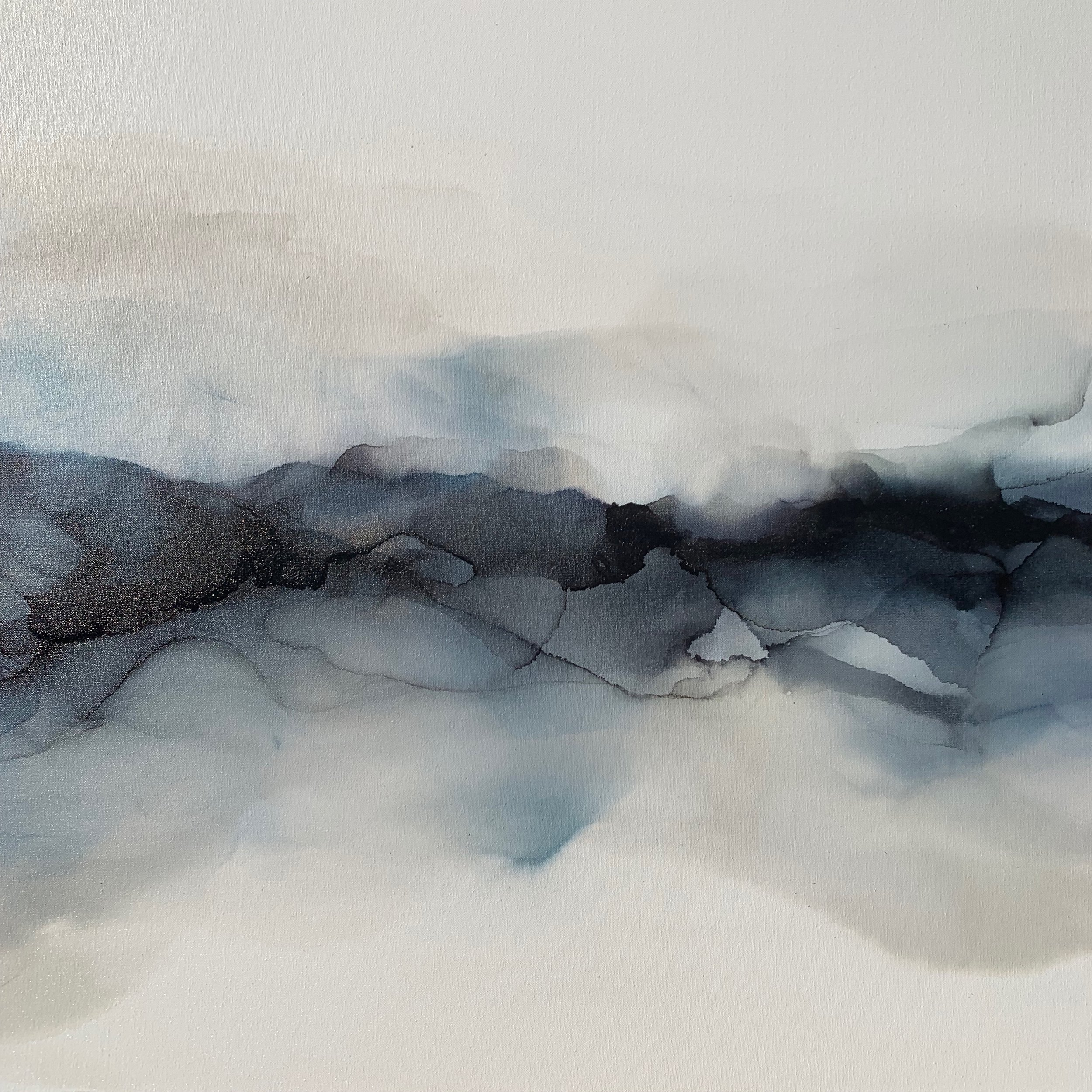 Pure Shores#Alcohol Ink on Canvas#30 x 30 inches#$1,550