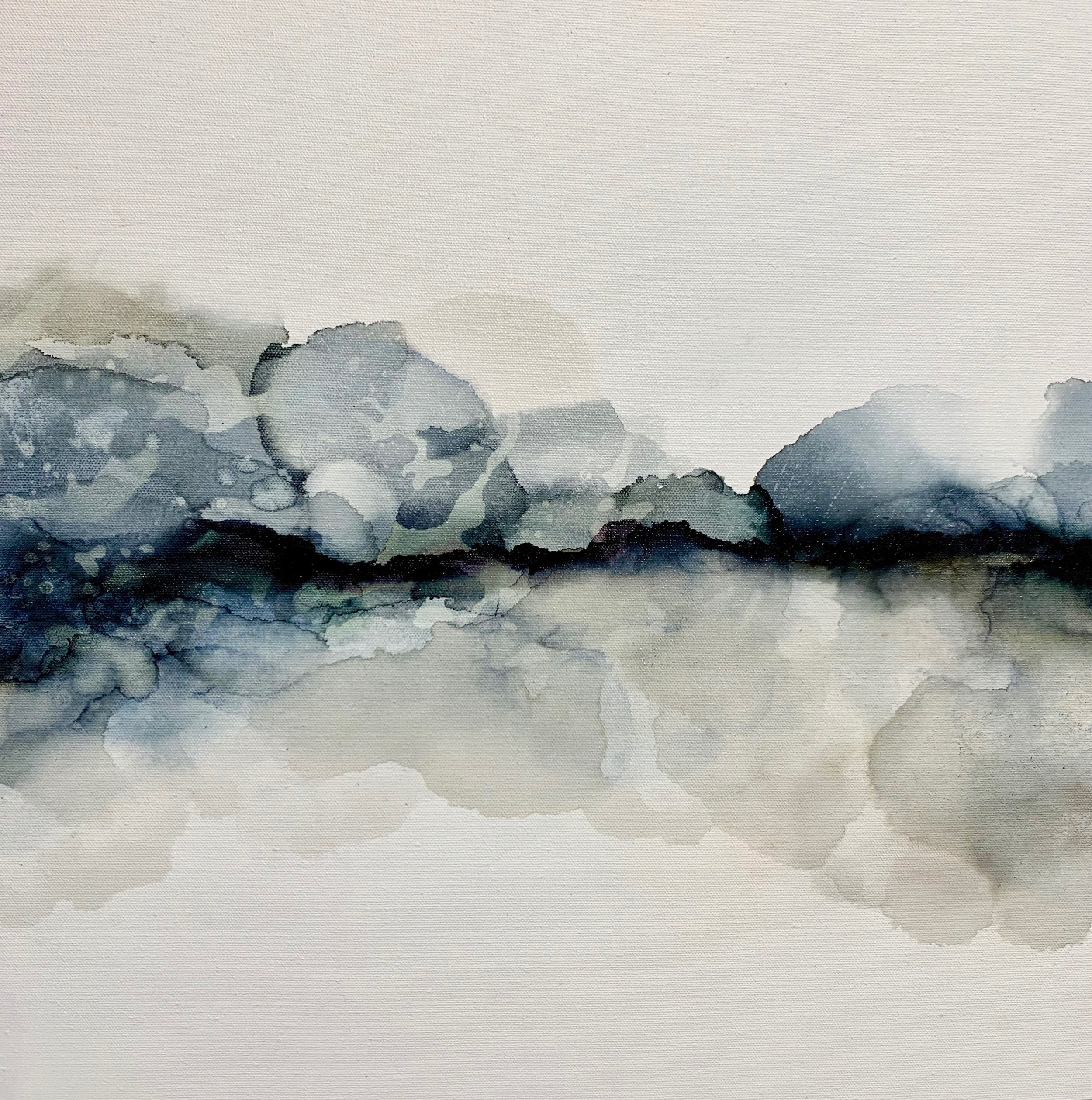 Various Storms & Stories#Alcohol Ink on Canvas#18 x 18 inches#SOLD