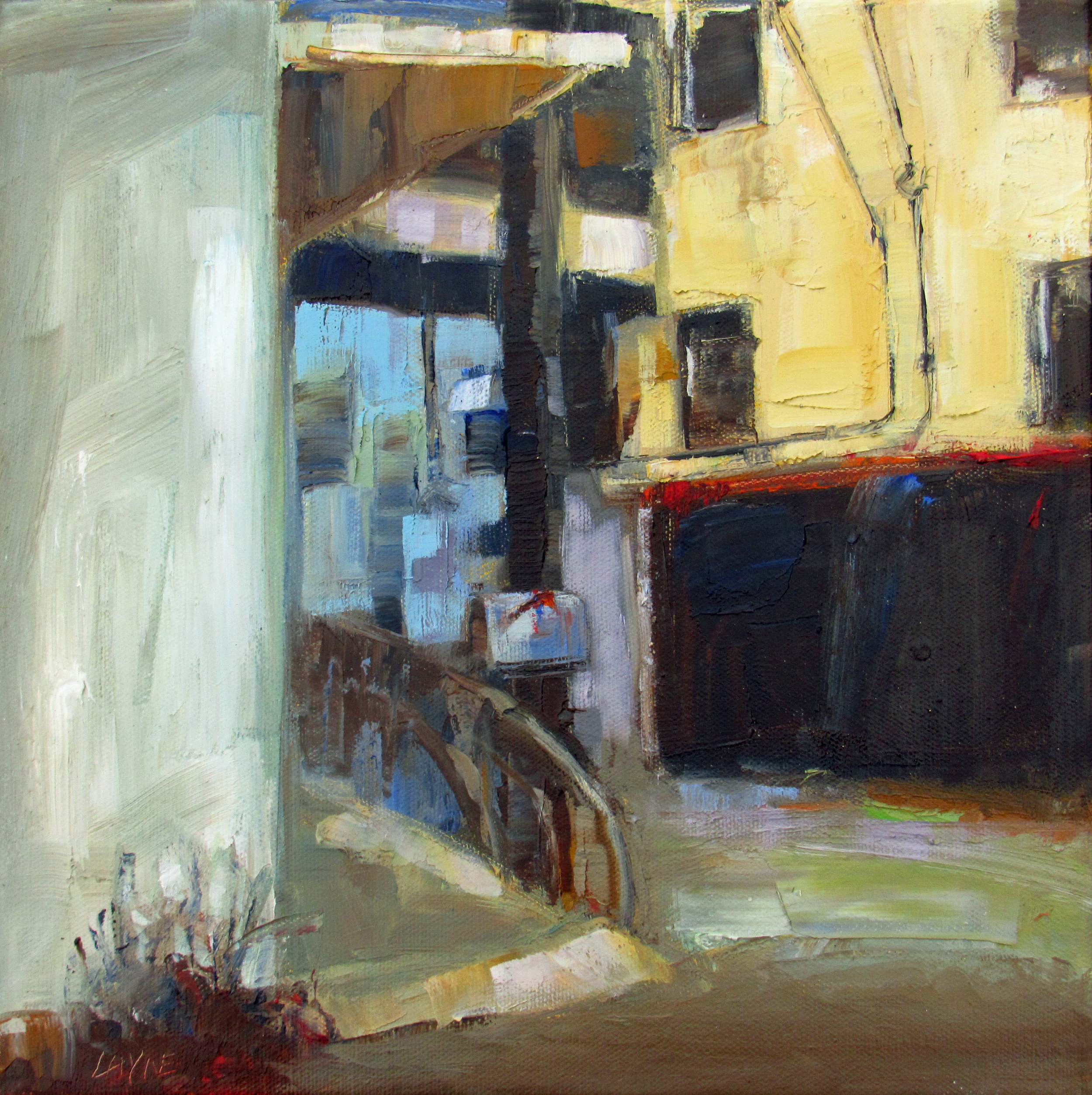 Around the Corner#Oil on Canvas#12 x 12 inches#$580
