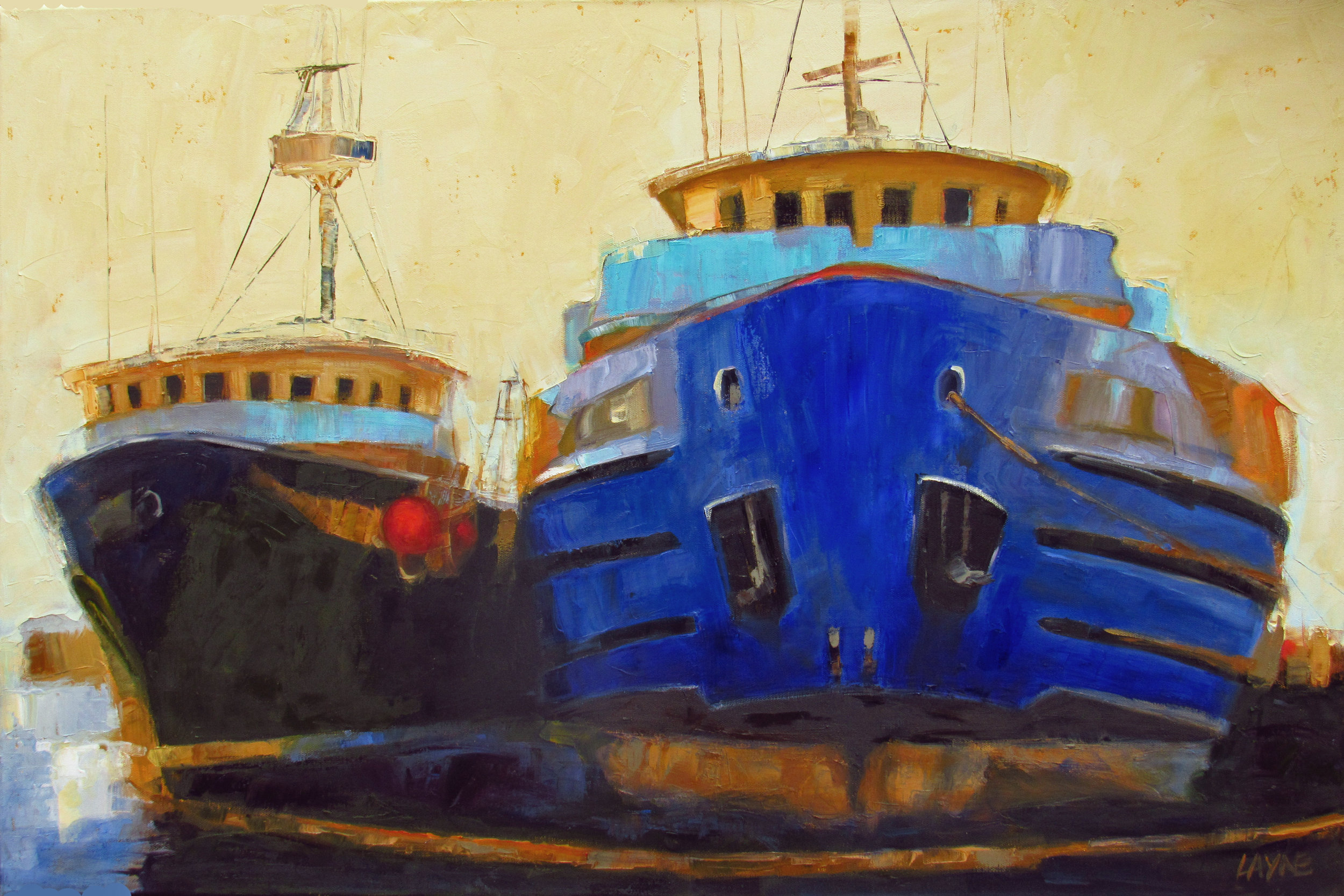 Two Tugs Tied#Oil on Canvas#24 x 36 inches#$1,850