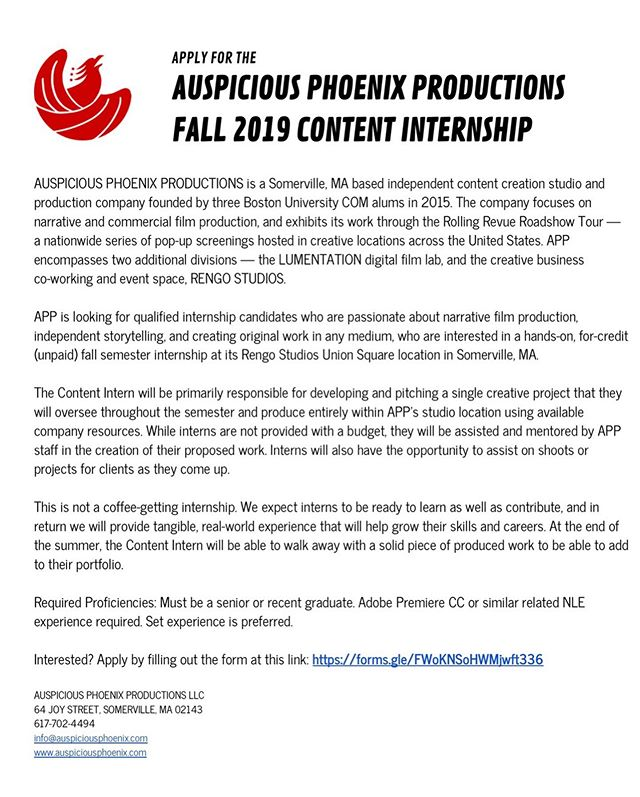 We are looking for Content & @rengostudios's Studio Fall 2019 Interns! These are not coffee getting internships— you'll get hands-on experiences to help you grow your skill and career. Interested in joining our team of passionate & creative individuals? Fill out the form through the link on the graphics before August 28th!