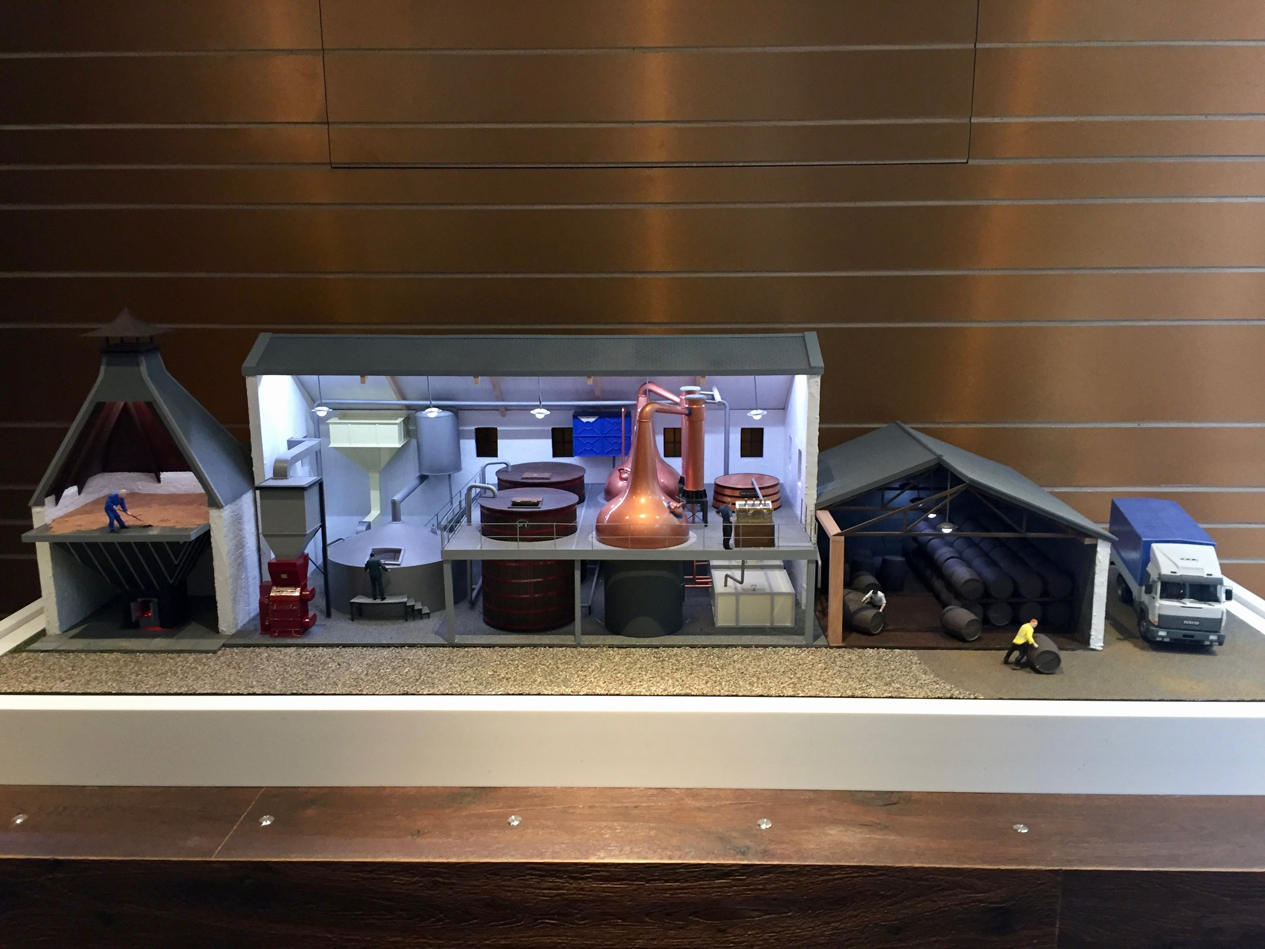 The distillery model in situ at the Scotch Whisky Experience. The six push buttons are along the front of the plinth.