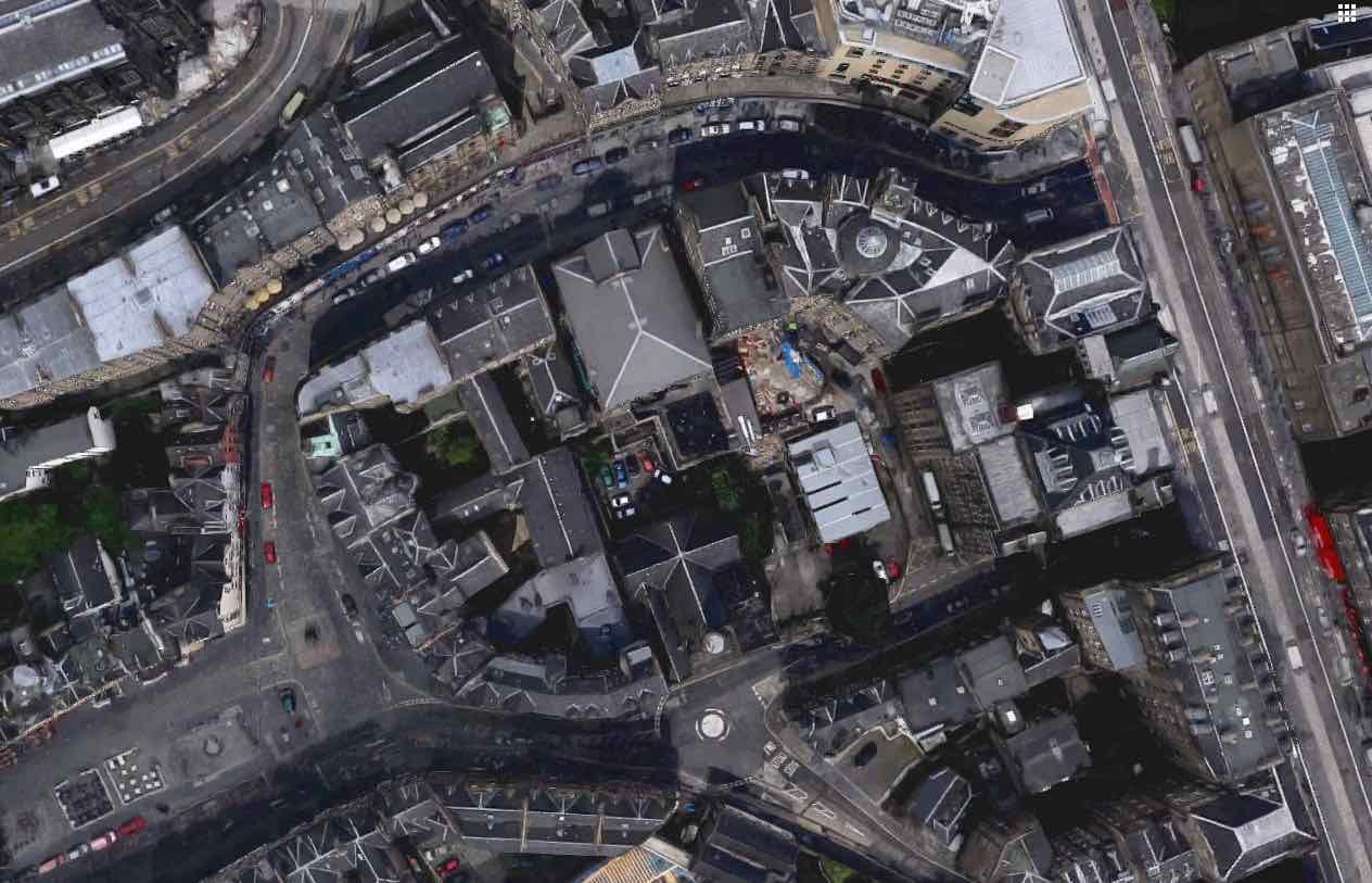 Edinburgh Old town aerial image cowgate victoria street.jpg