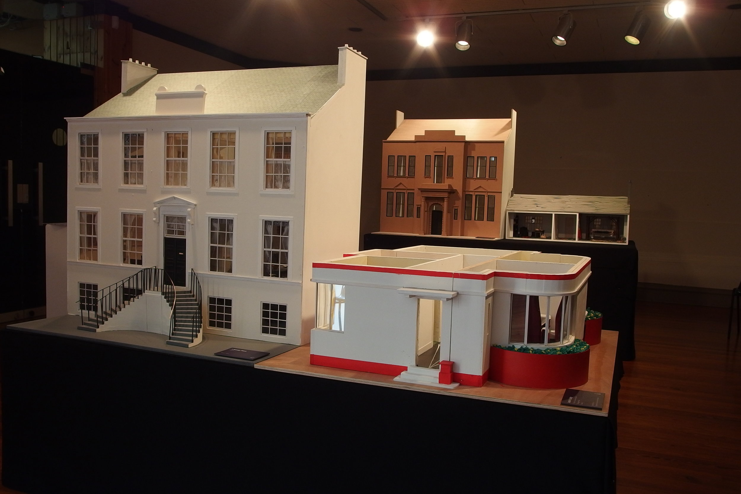 The finished dolls houses on display at Paisley Museum, September 2018