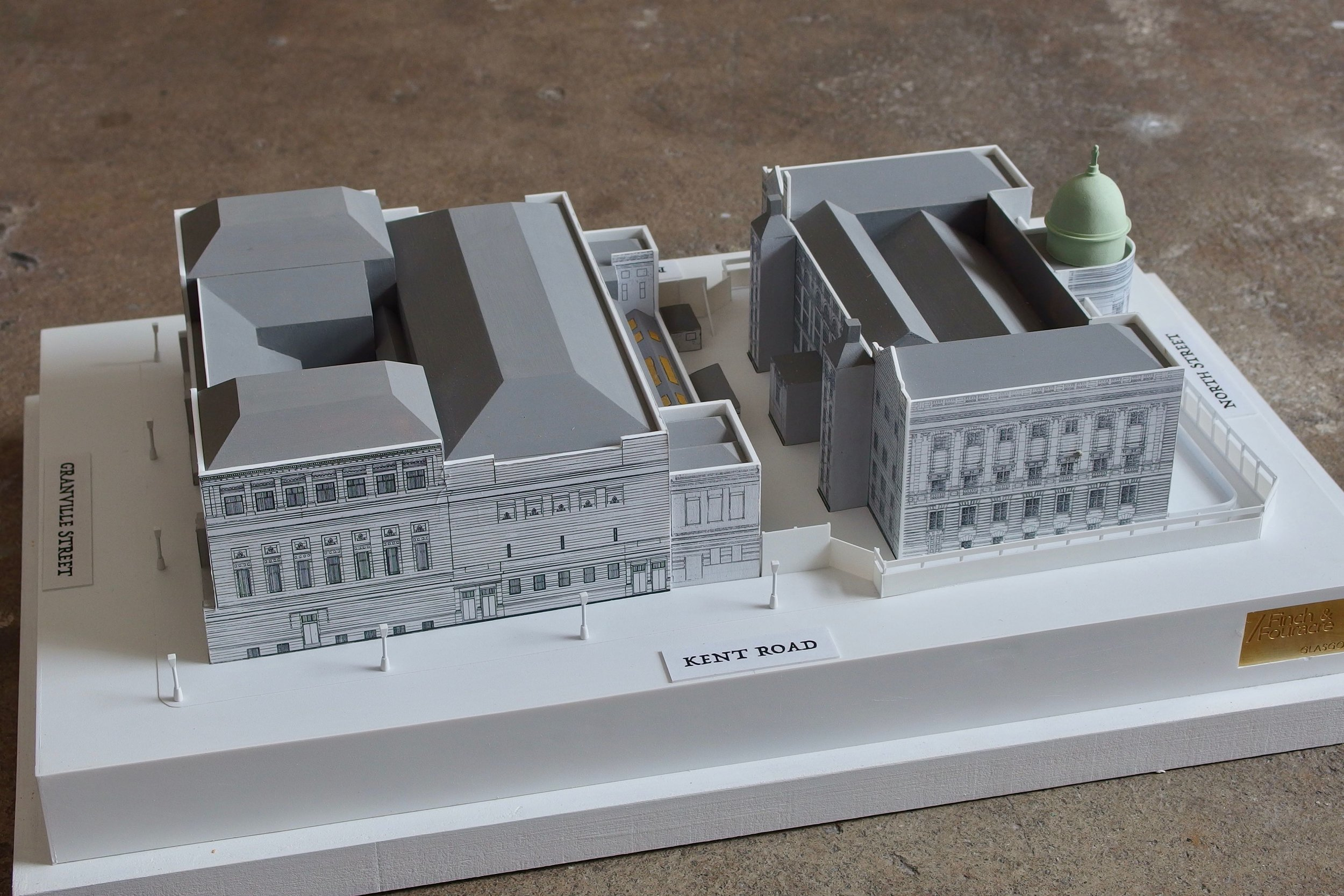 Model of St Andrew's Halls and the Mitchell Library
