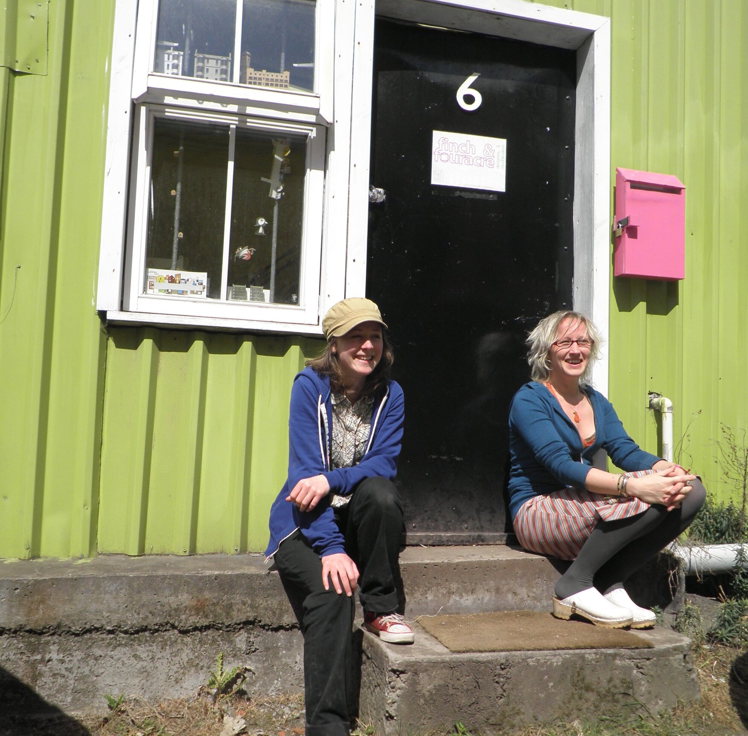 Me (left) and Beth, outside our workshop in the Hidden Lane, Finnieston.