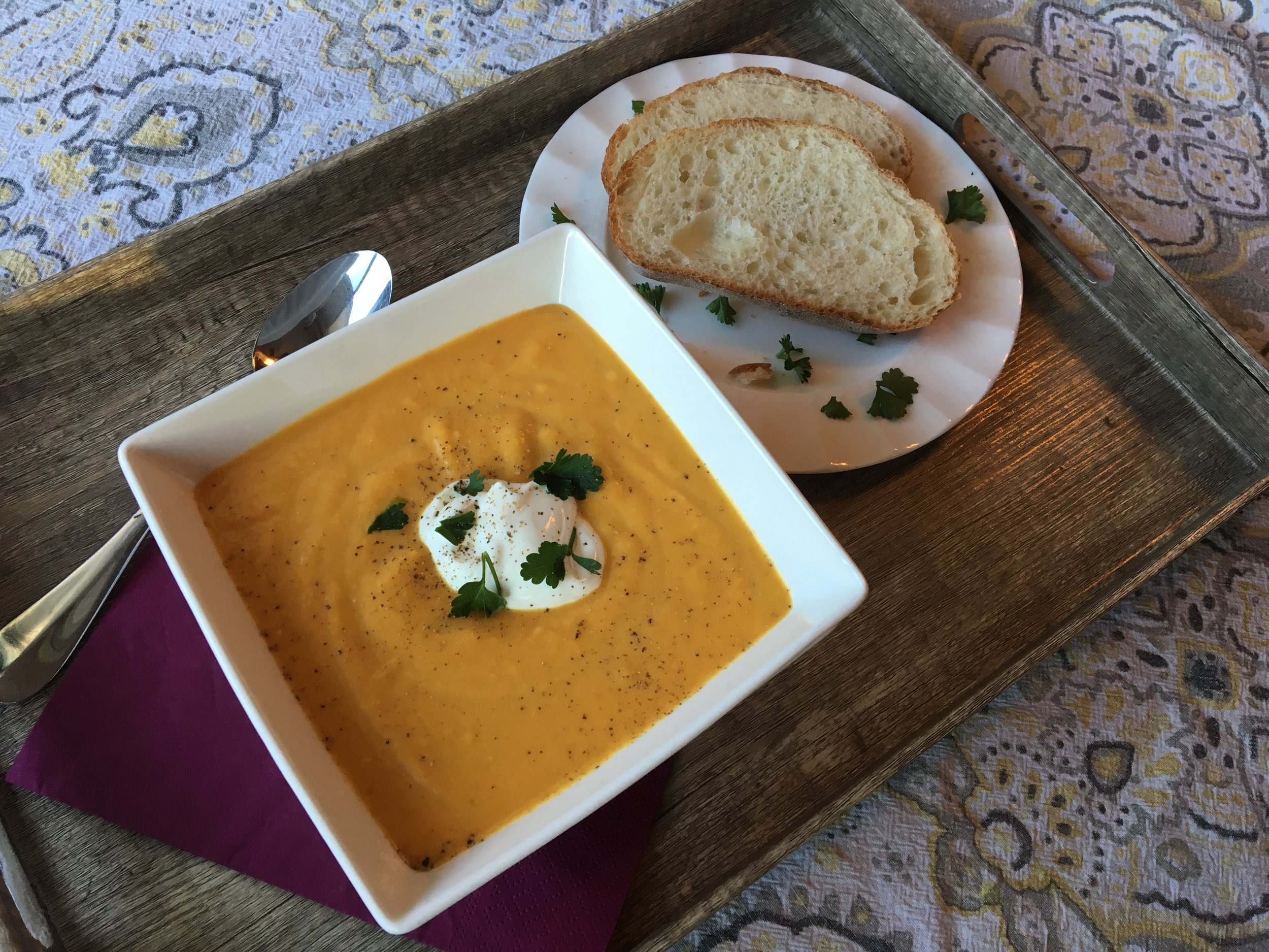 Coconut Carrot Ginger Butternut Squash Soup