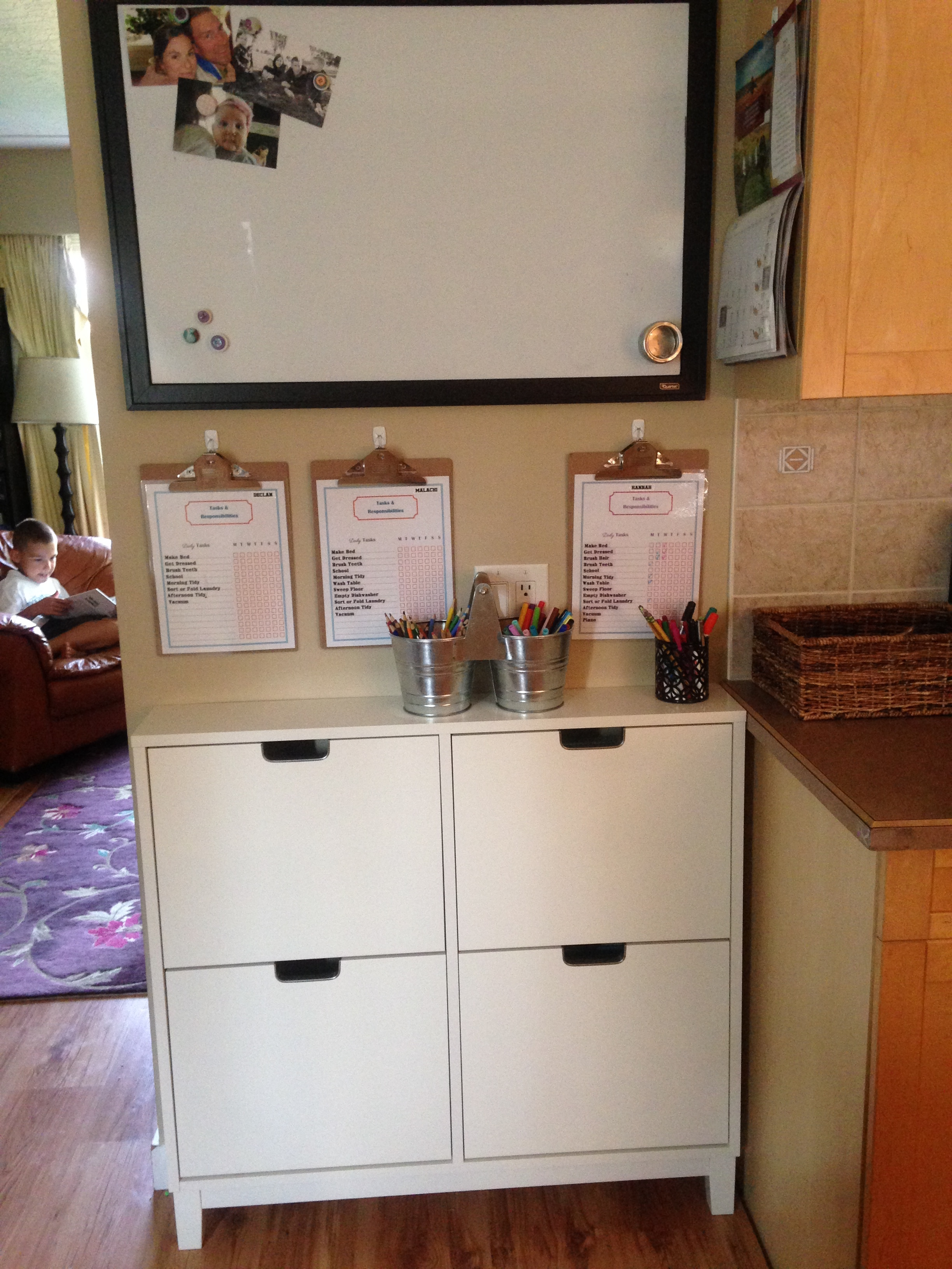 Small space storage for homeschool resources