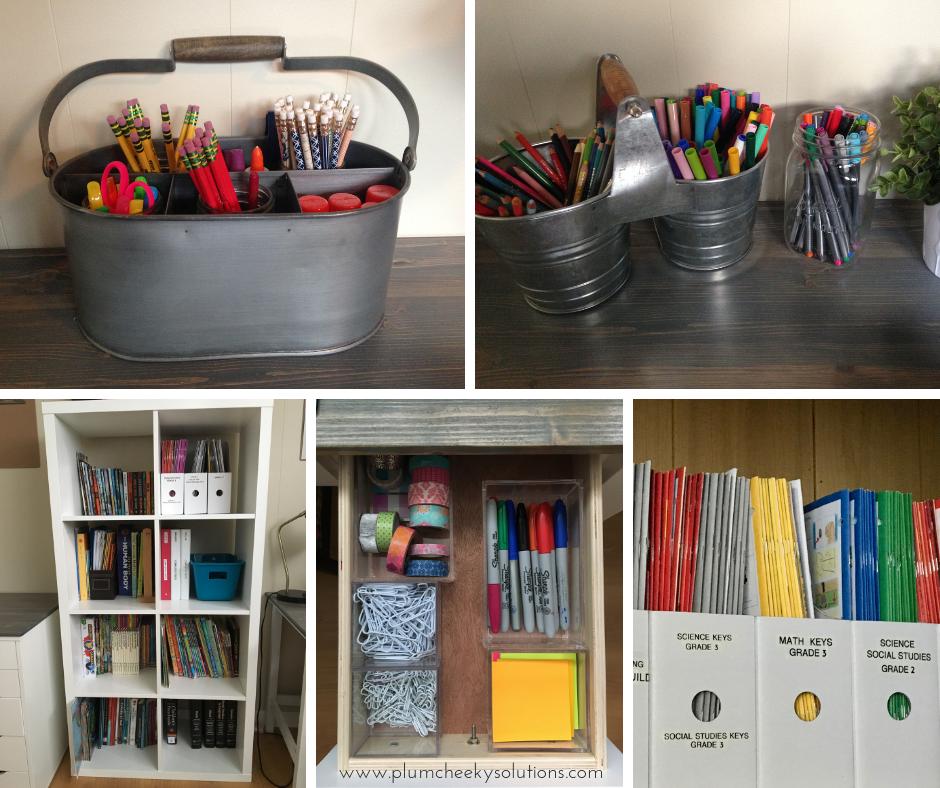 organized home school supplies