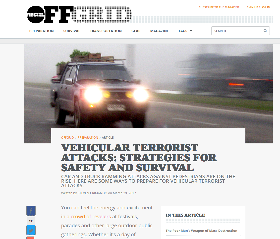 Vehicular Terrorist Attacks: Strategies for Safety and Survival