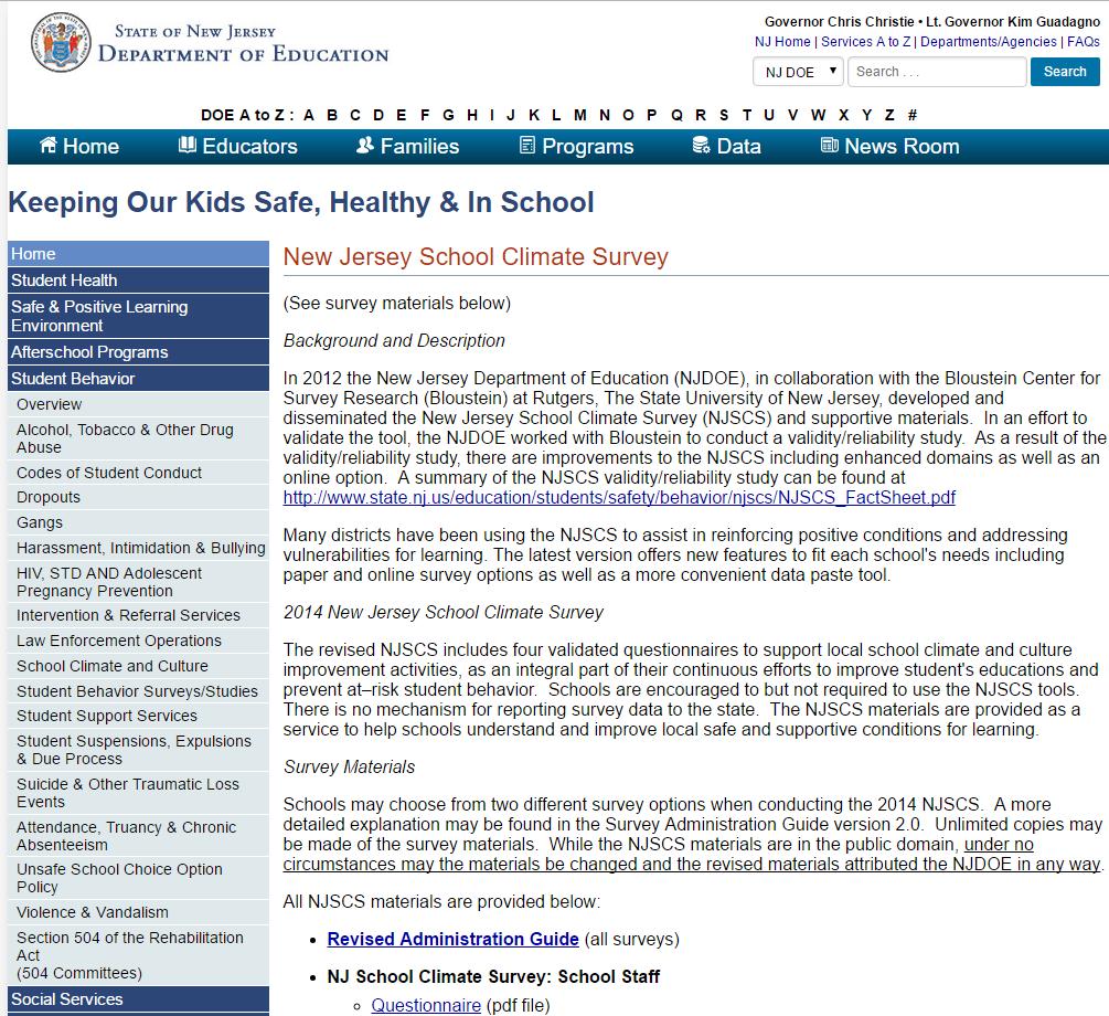 New Jersey School Climate Survey