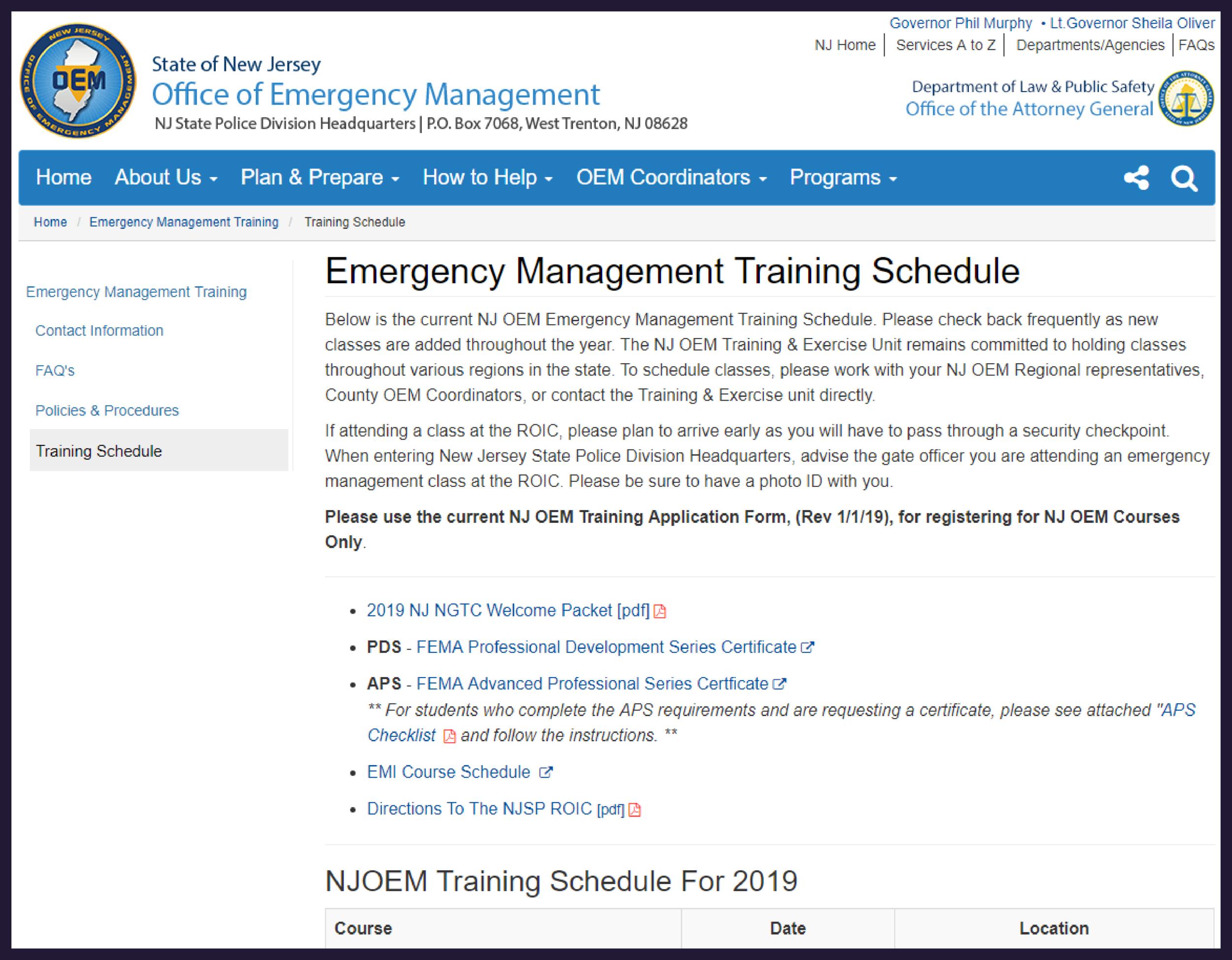 NJSP/OEM Training