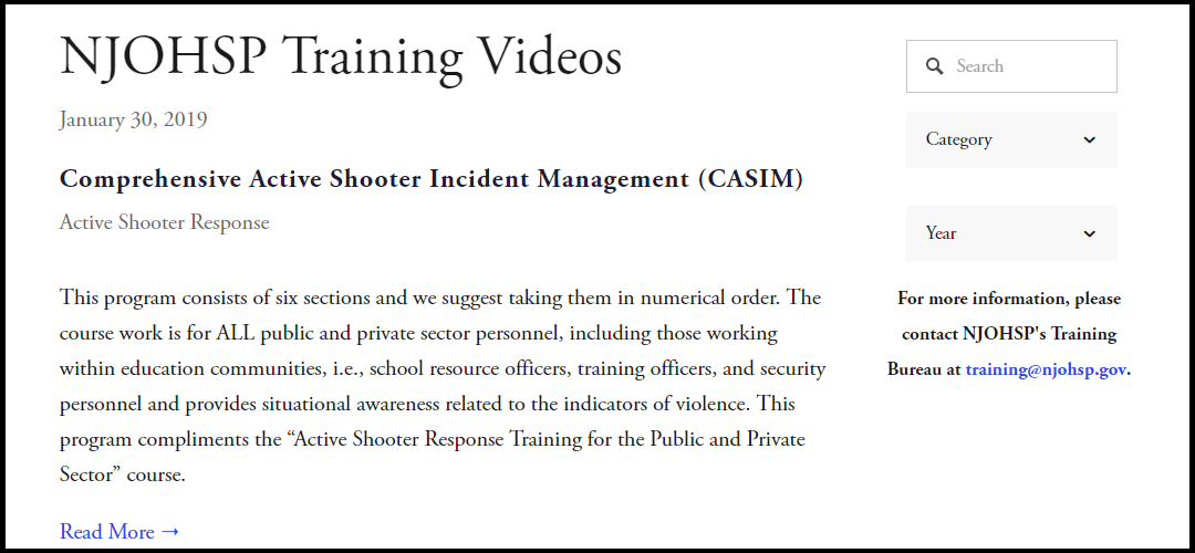NJOHSP Training Videos