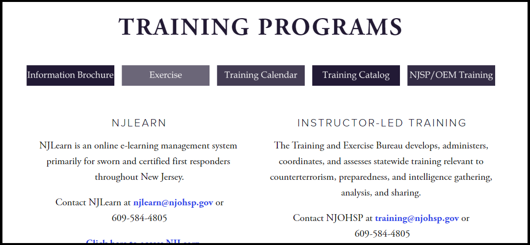 NJOHSP Training Programs