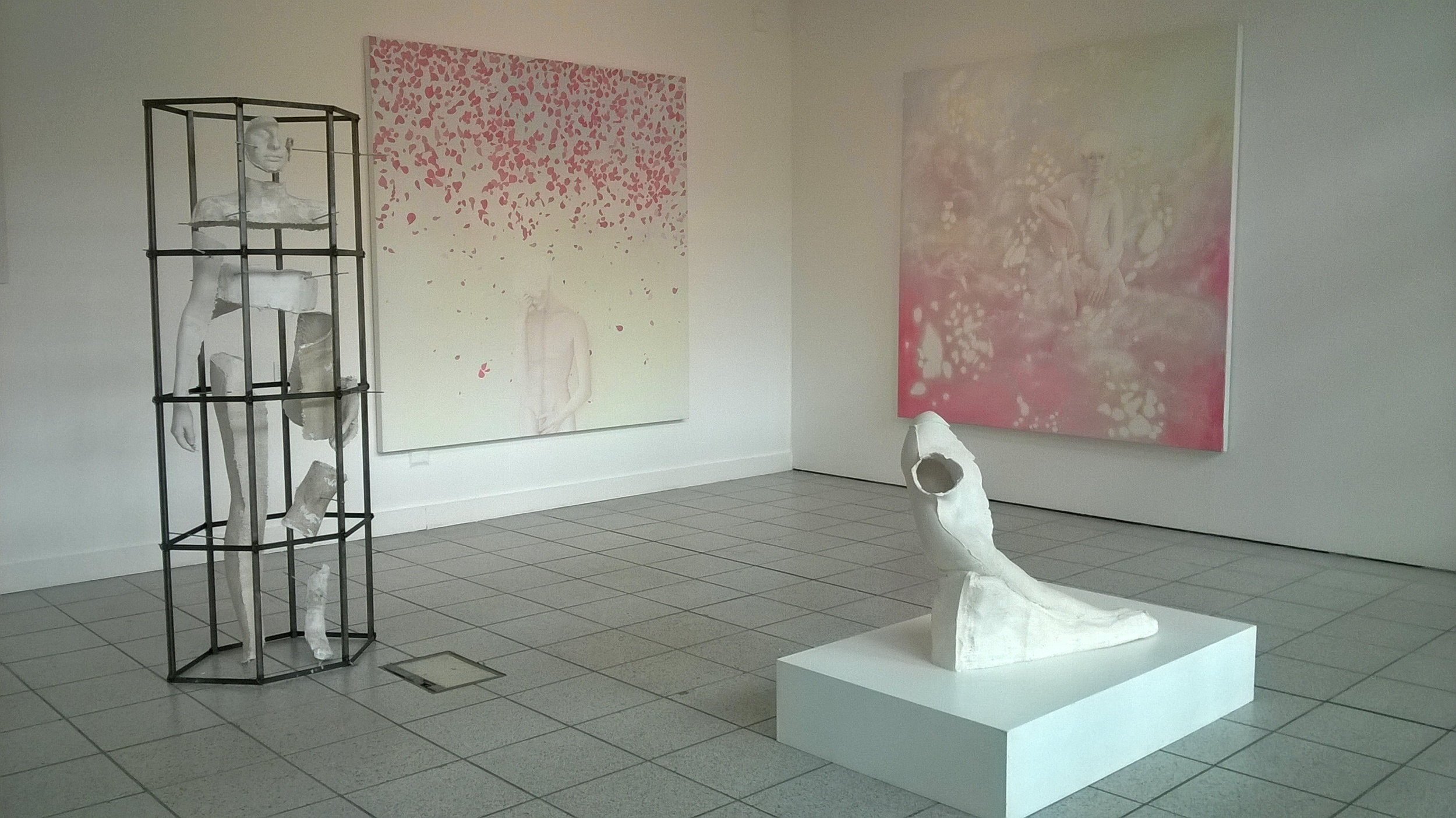 In order from left to right:Helena Collins, Brace Yourself, 2015, Jesmonite, steel and plaster. |Jamie Shaw, Where did you go? ,2015, Oil on canvas. Jamie Shaw, The forever-place of dreams , 2015, Oil on canvas.