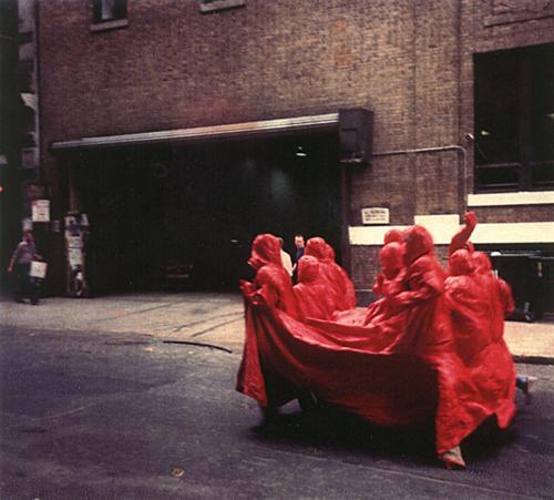 Nicola L,  Red Coat , 1969, Vinyl, elven slits and eleven hooded jackets  © Nicola L.