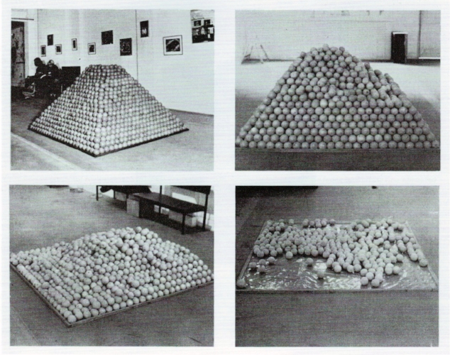 Roelof Louw, 1967,  Soul City (Pyramid of oranges) , oranges, wood plastic.