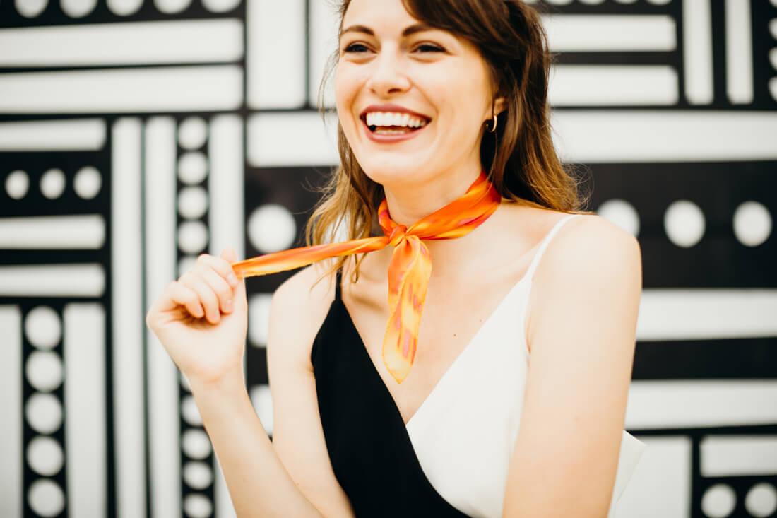 orange gift silk scarf from a friend of mine rae michalik by meraki narrative スカーフ 通販 女性 プレゼント