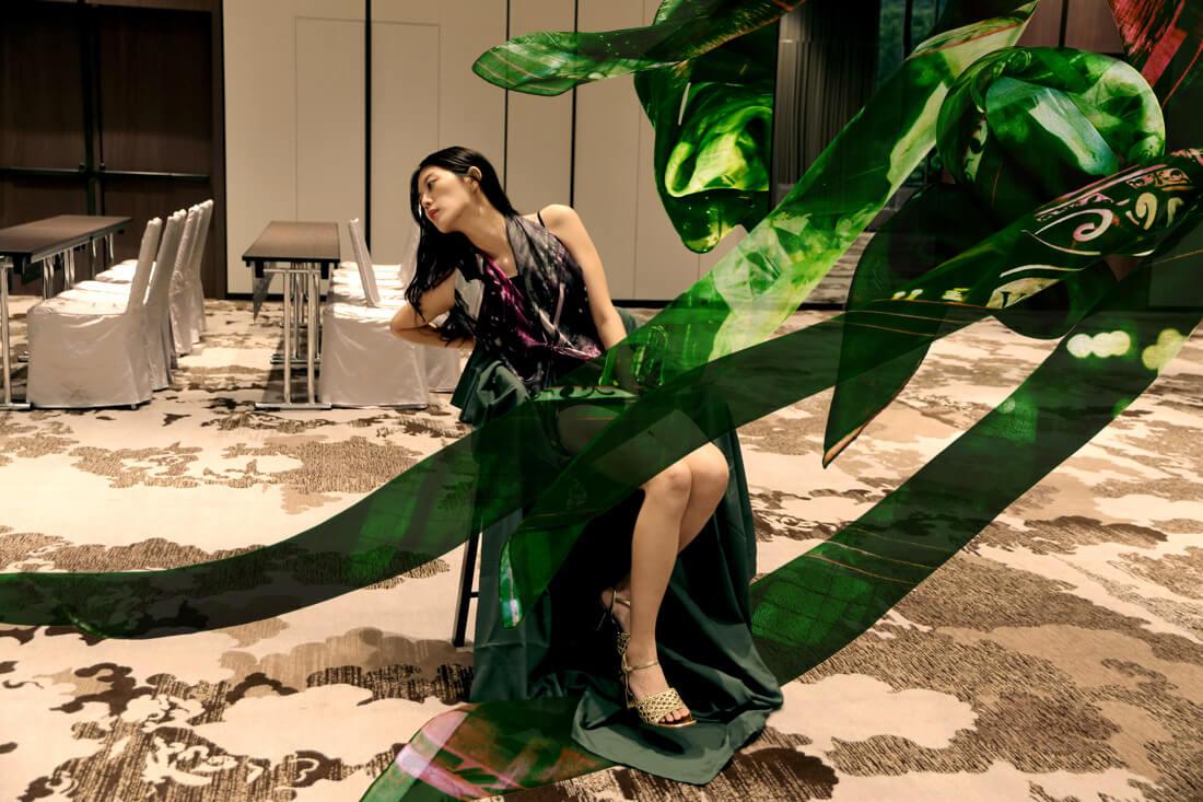 """Black silk scarf dress """"Paris' Impressions"""" from a friend of mine"""