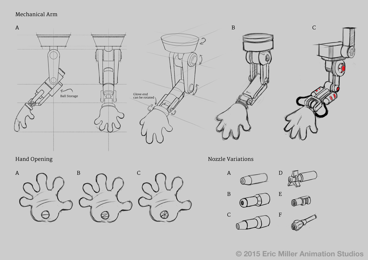 Early character designs of the mechanical hand.