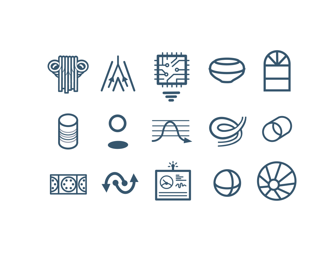 WhiteWater West Industries  - Water Park Designer and Manufacturer Icon Set - 100 Icons for Rides, experiences, and other comparative features between their wide product line. Implemented company wide.