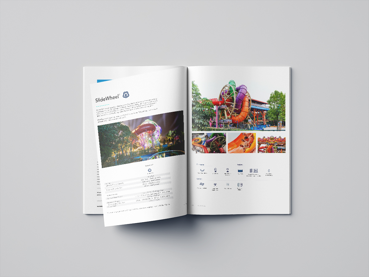 Brand Publication Design  - WhiteWaters entire print catalog. Emphasizing big beautiful photographs that show a range of emotionally and technically descriptive images and text to best communicate the range of information the client needs when making a decision.
