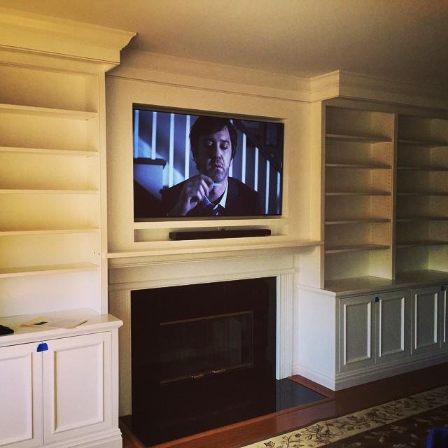We do it better built in flush mount. #Nyavd #nyavdcrew #livingroom #builtins #fireplace. #customtv #wedoitbetter